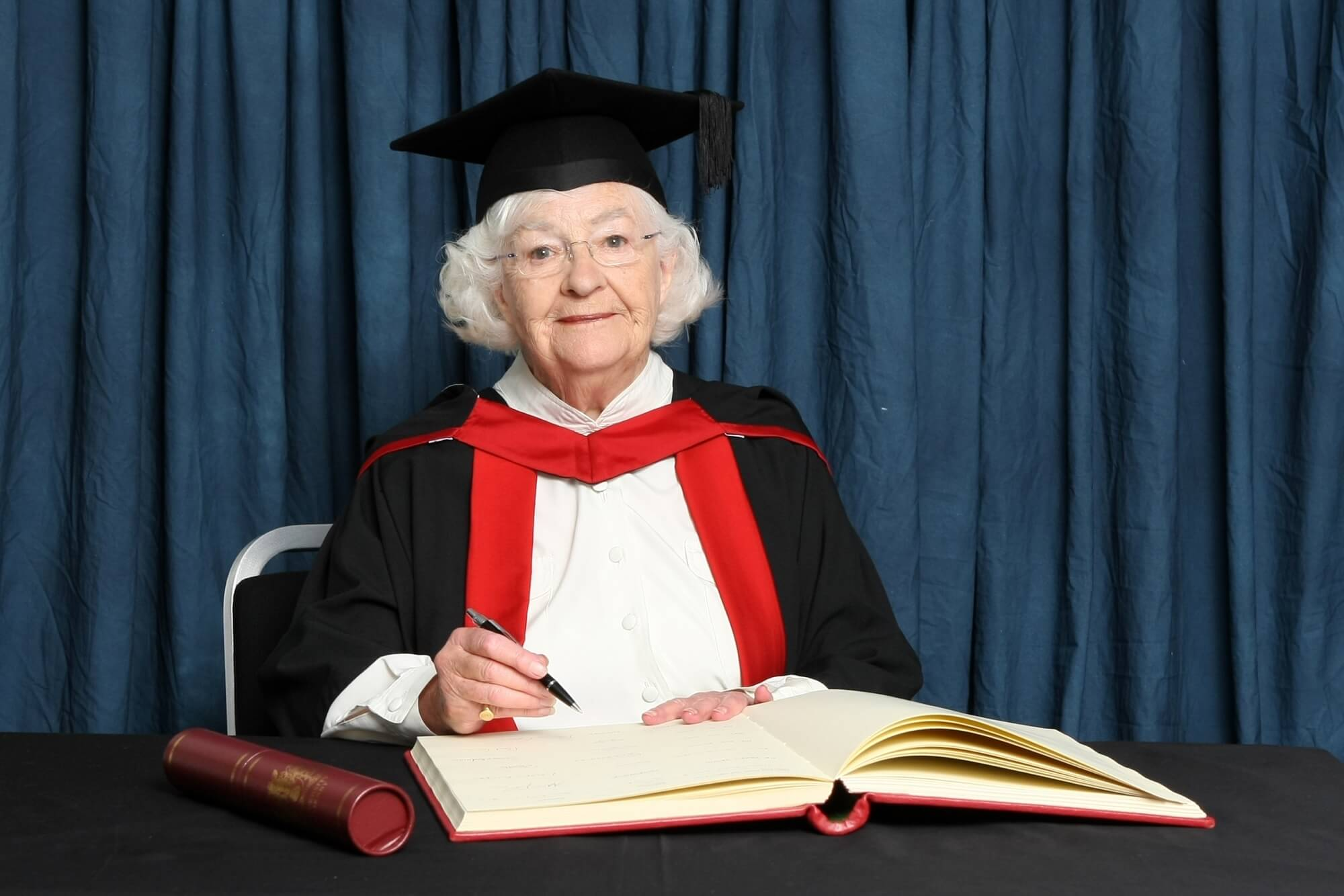 Patricia Greene MBE receiving her honorary degree (HonMA)