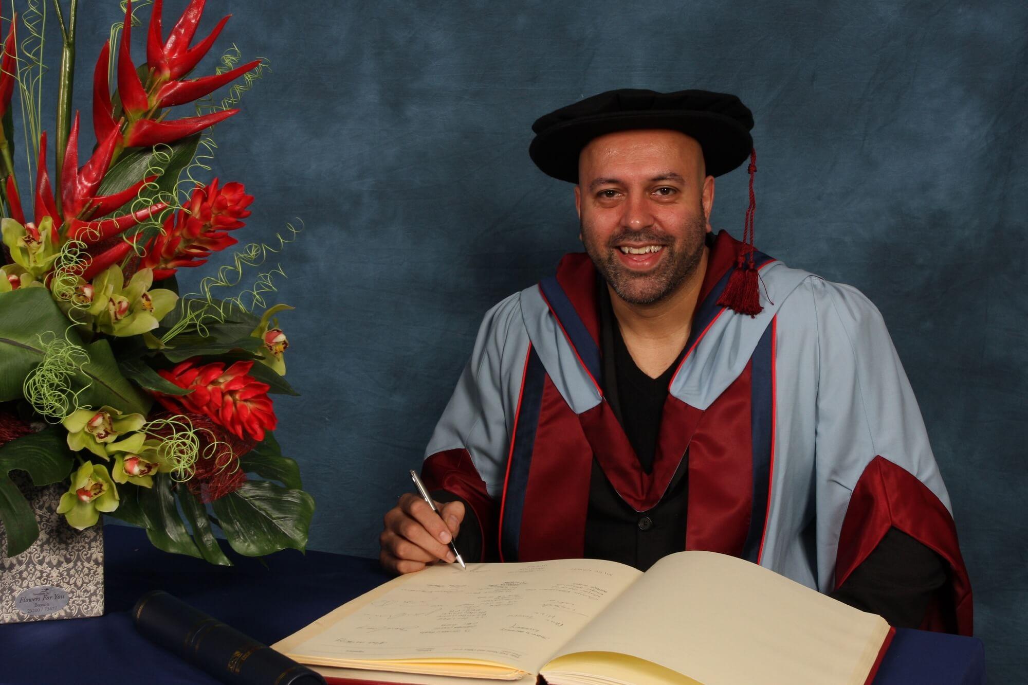 Sat Bains receiving his honorary degree, HonPrD, 2011