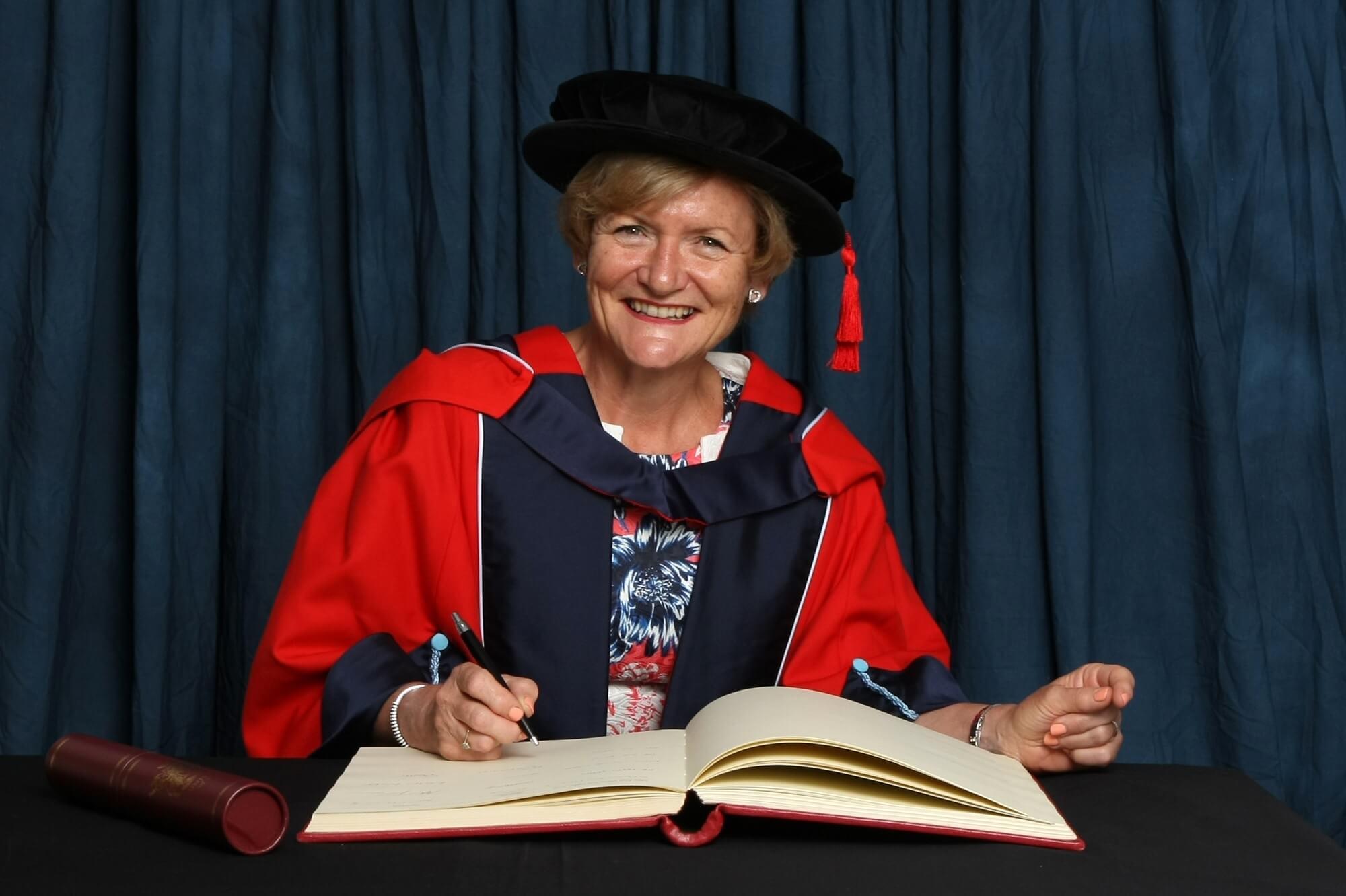 Sue James receiving her honorary degree (HonDUniv)