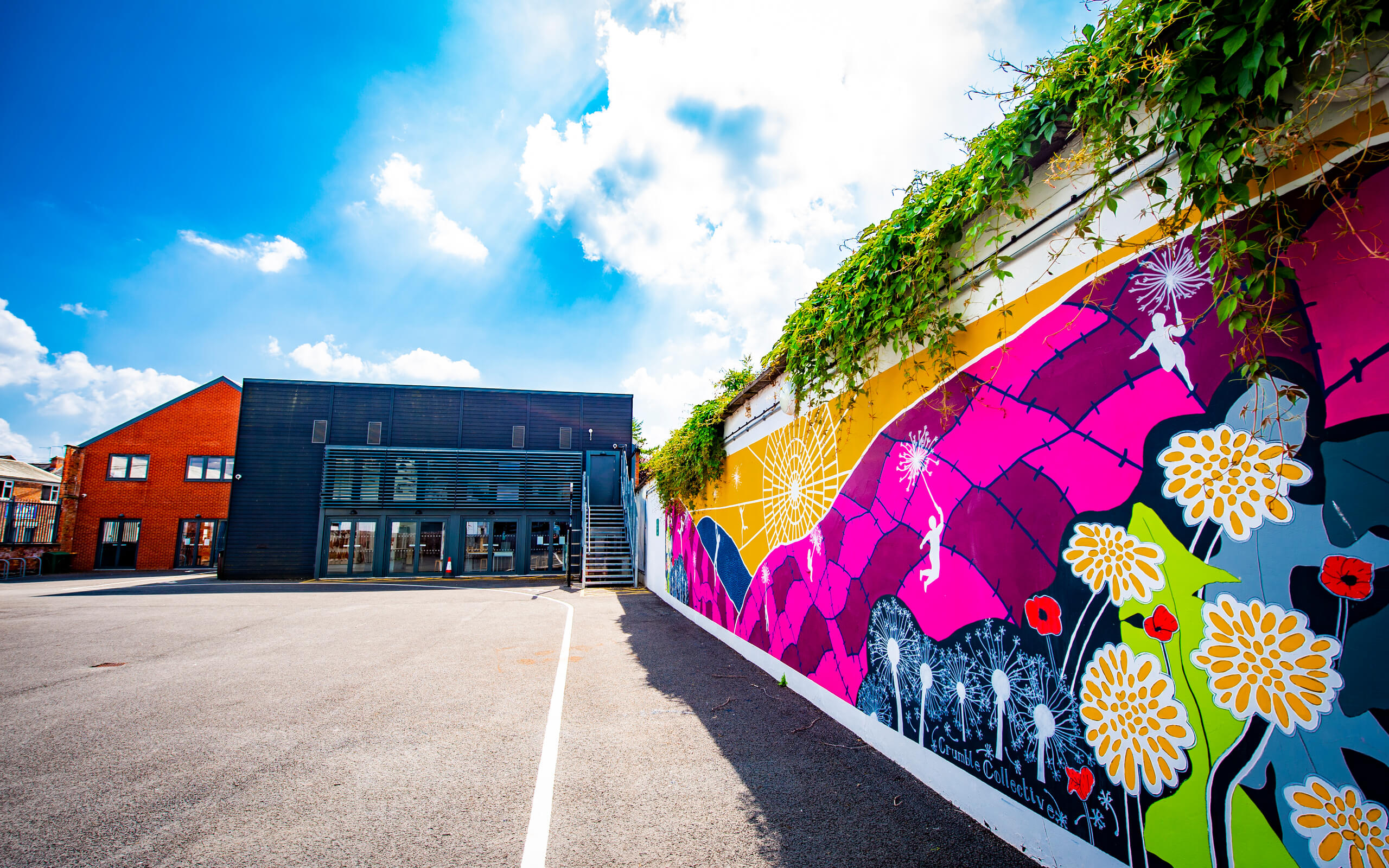 A mural design outside the University of Derby's Art and Design building.