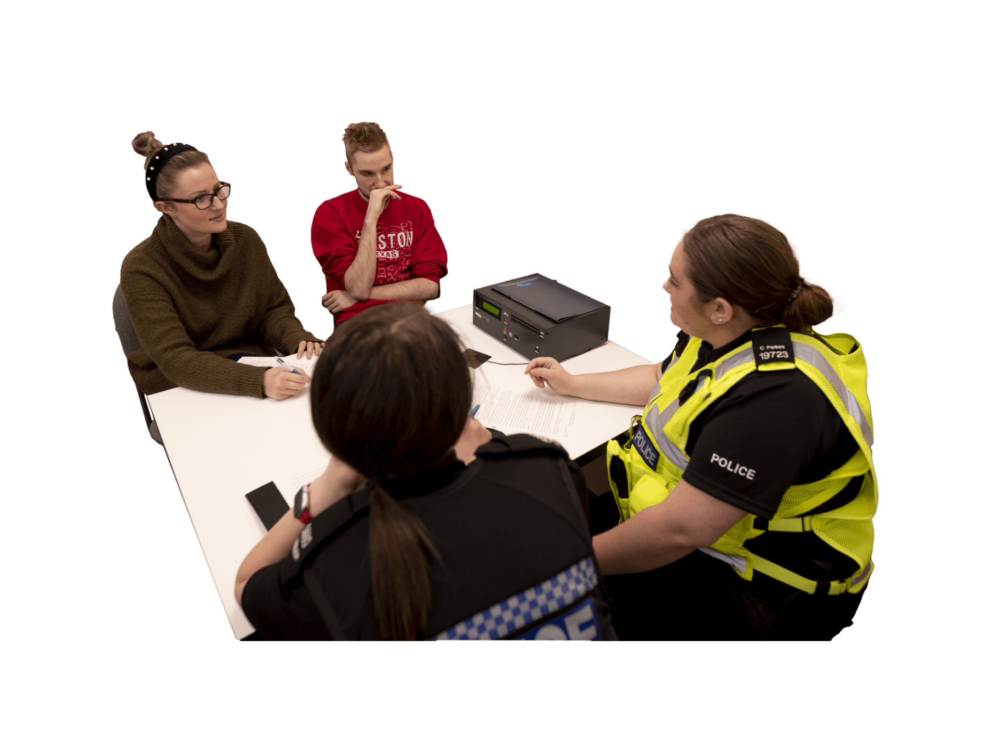 Policing students conducting an interview