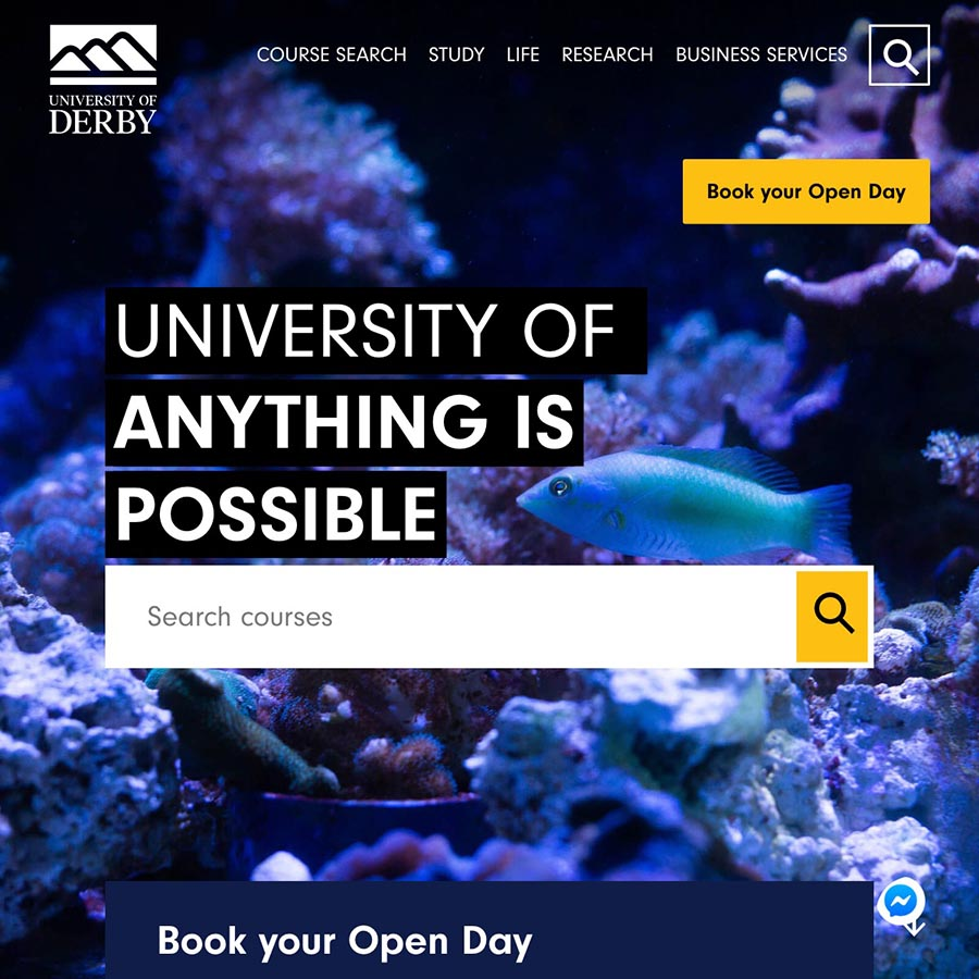 A screenshot of The University Of Derby homepage