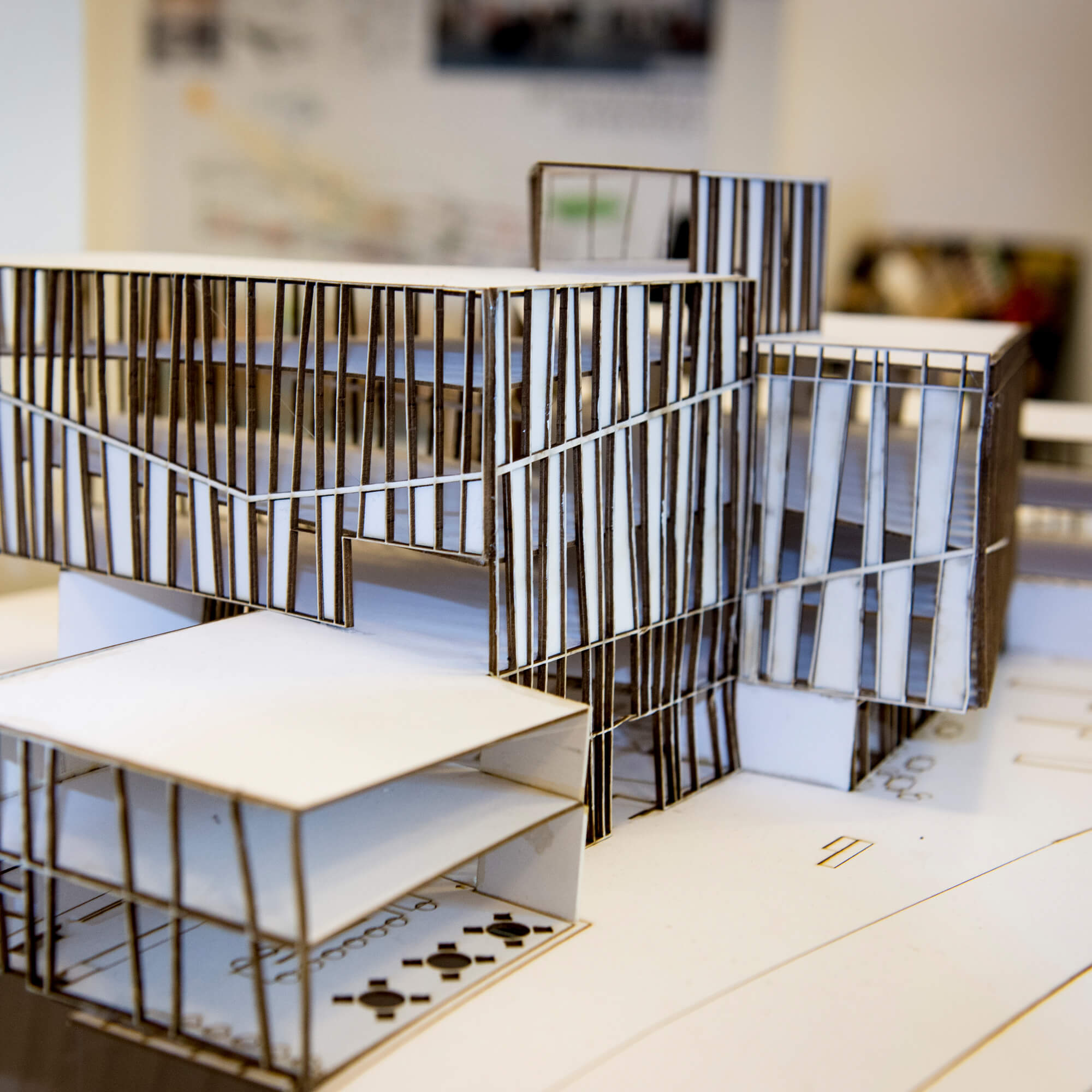 A close up of an architectural model