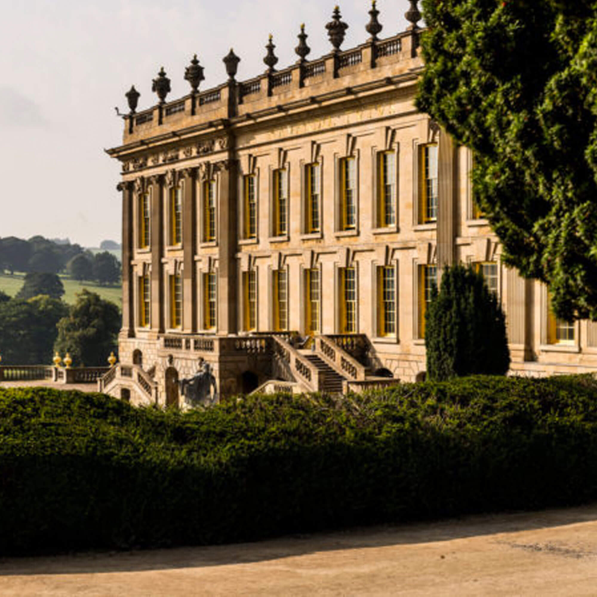 A view of Chatsworth House in Derbyshire