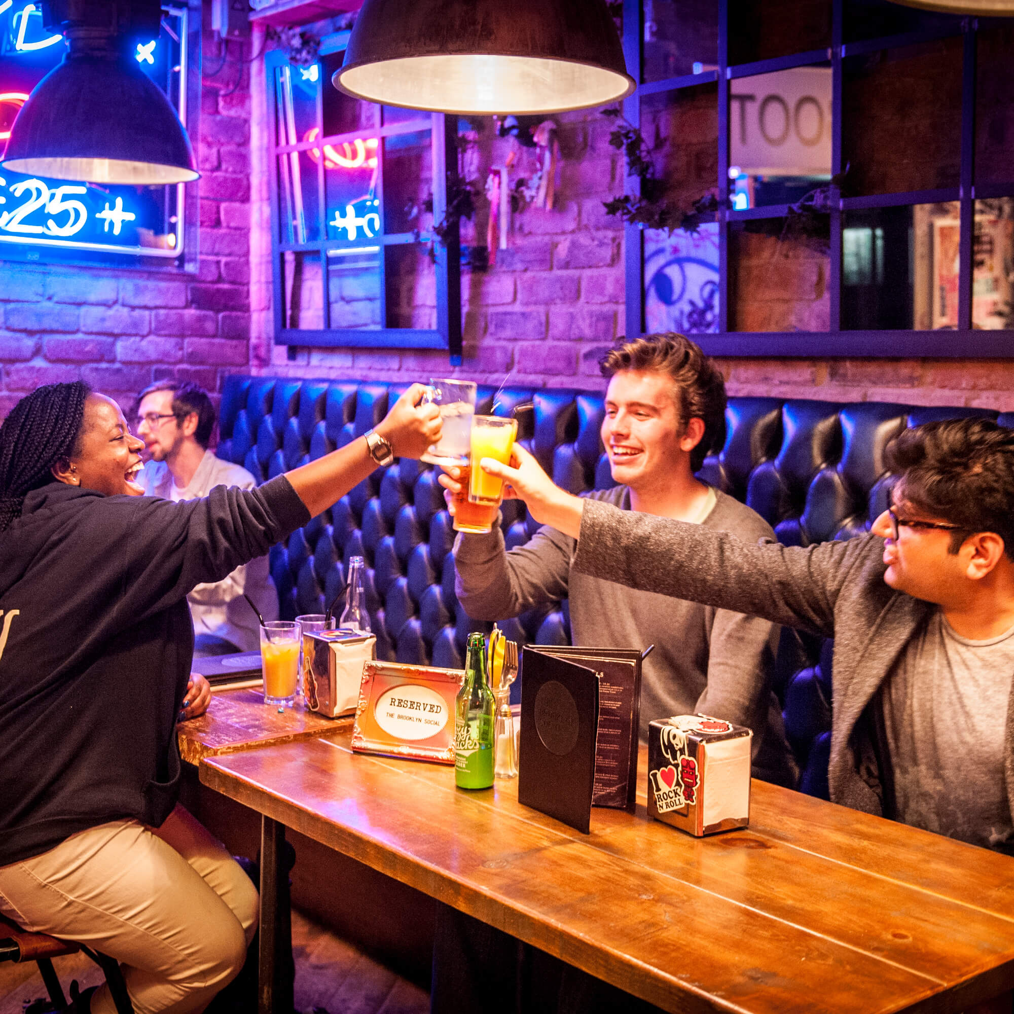 A group of students socialising at the Brooklyn Social, a bar in Derby
