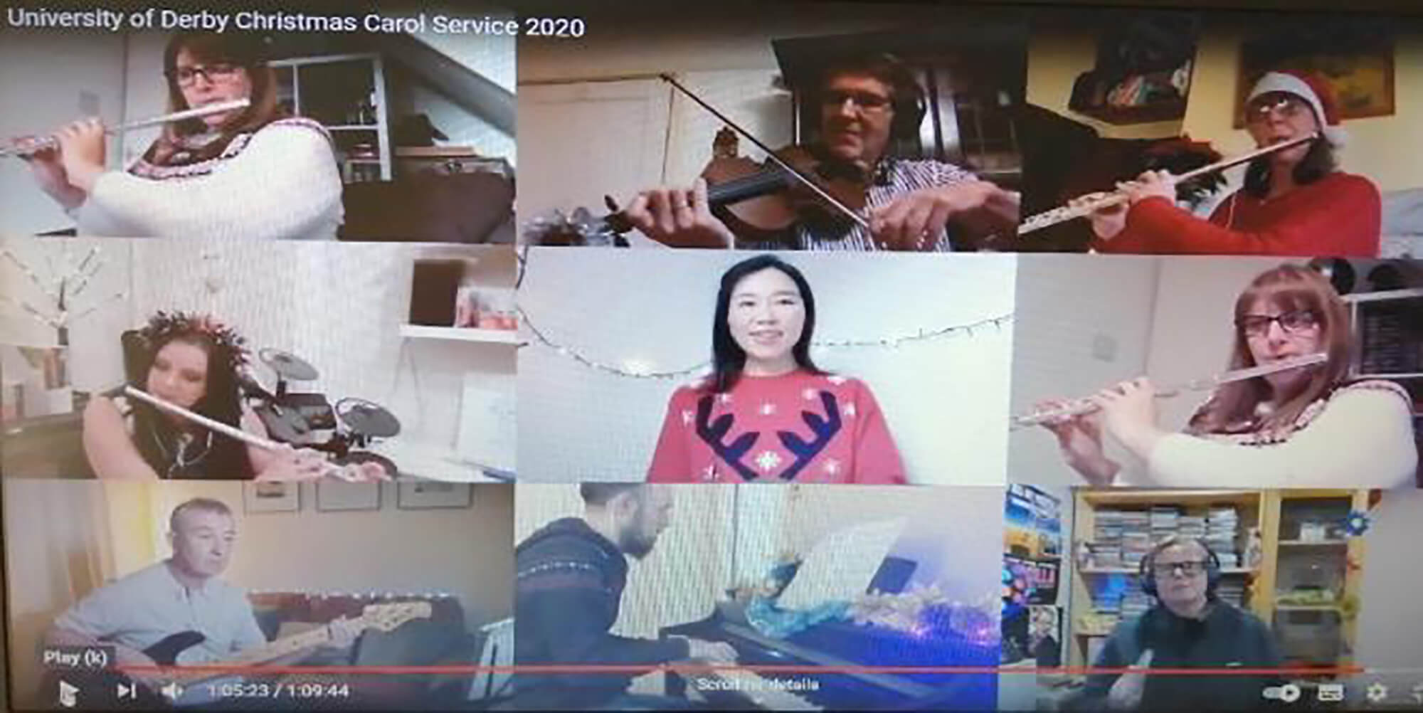 People playing musical instruments (flute, violin, piano) remotely on a video conferencing platform