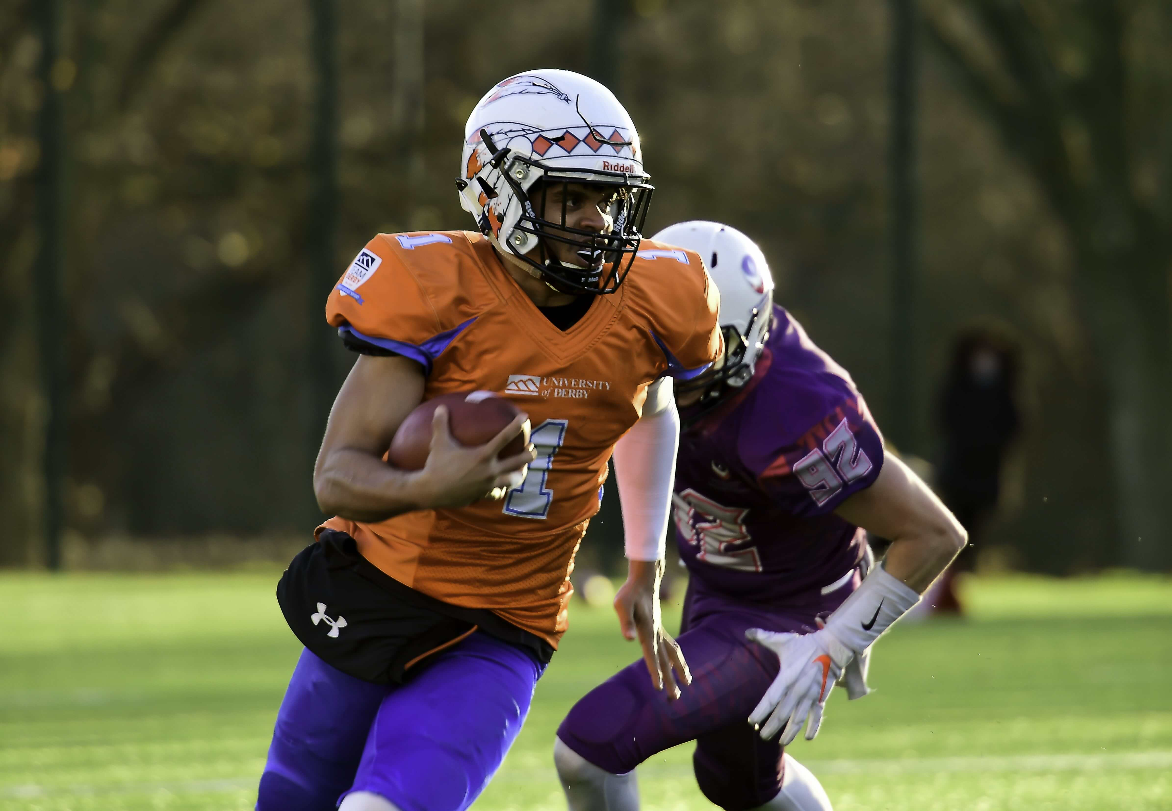 Clarence playing American Football - Derby vs Loughborough, December 2019