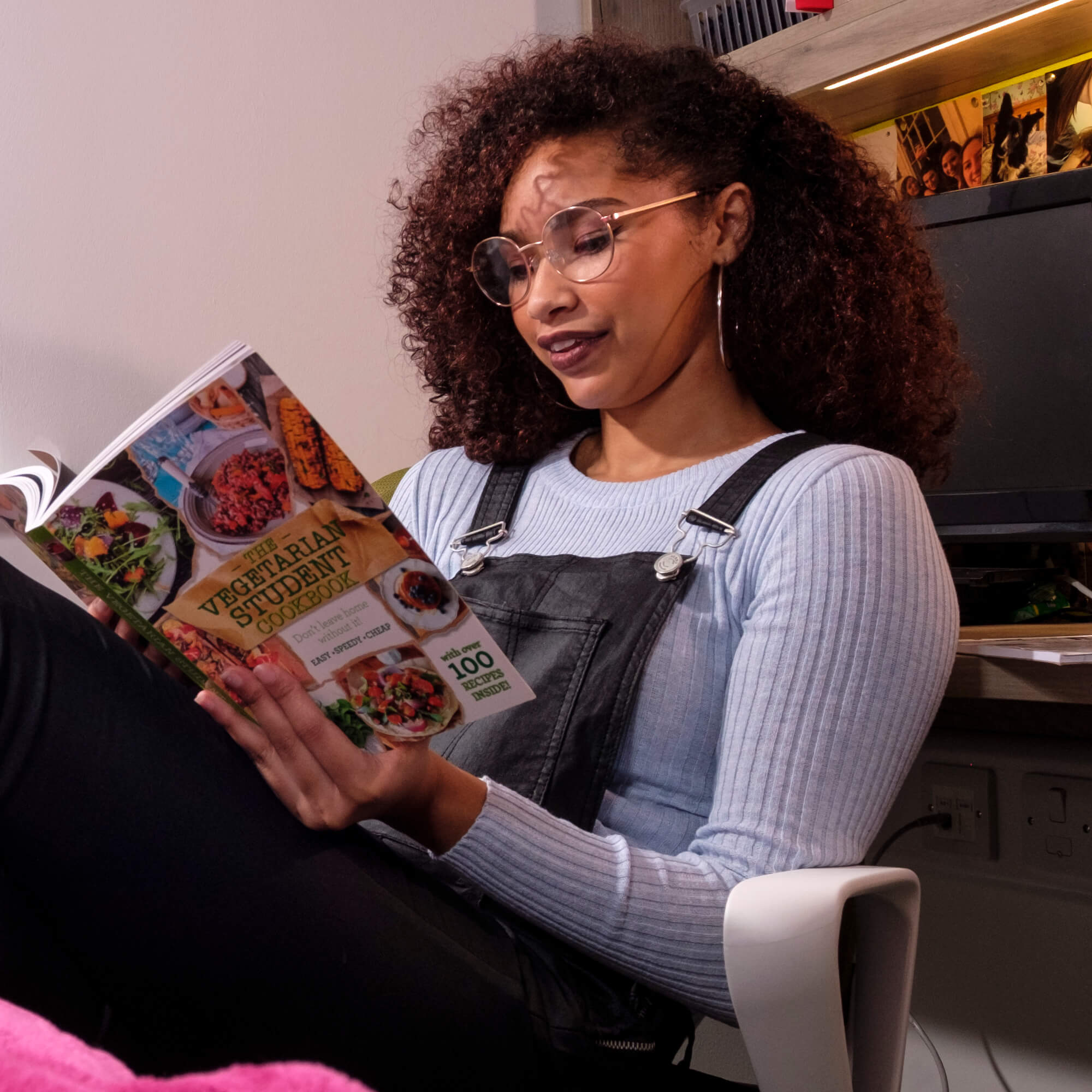A student reading in her halls