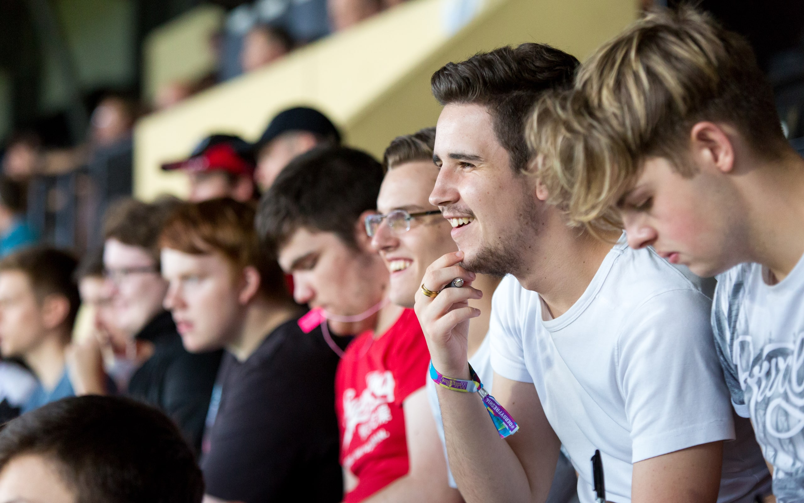 Group of students at Pride Park Stadium