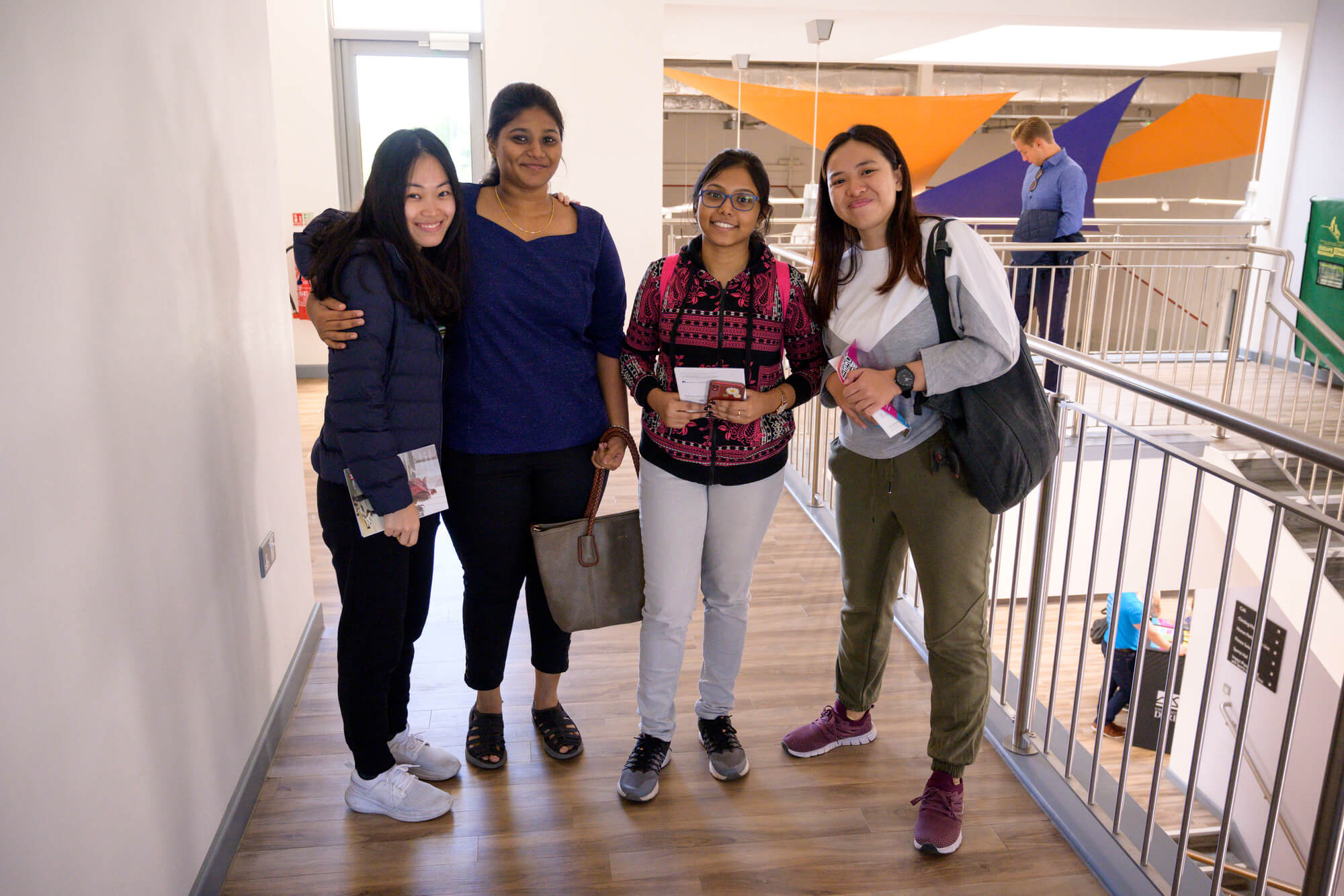 Group of international students attending the welcome event held at the Sport Centre, Kedleston Road.