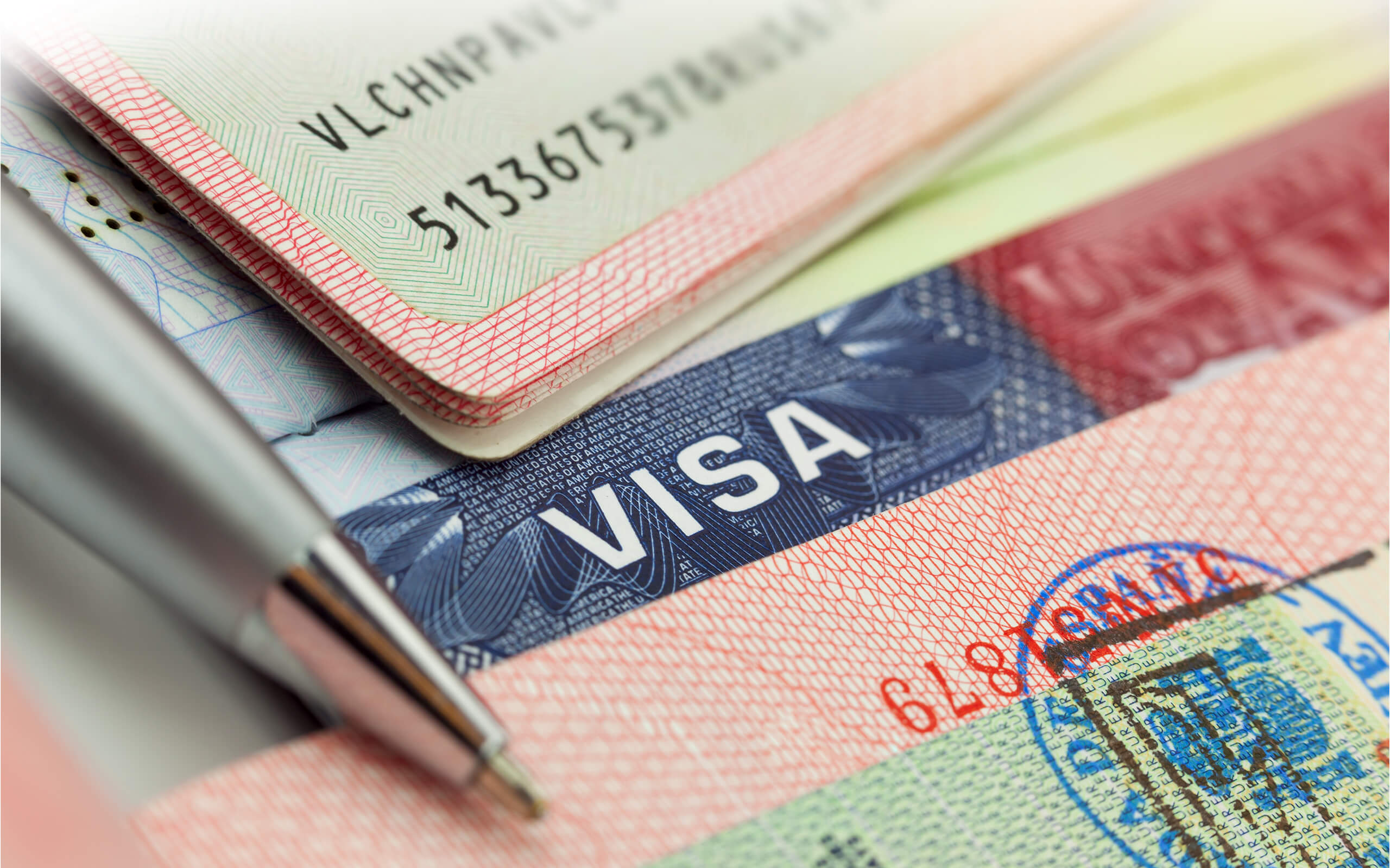 Abstract visa and passport documents