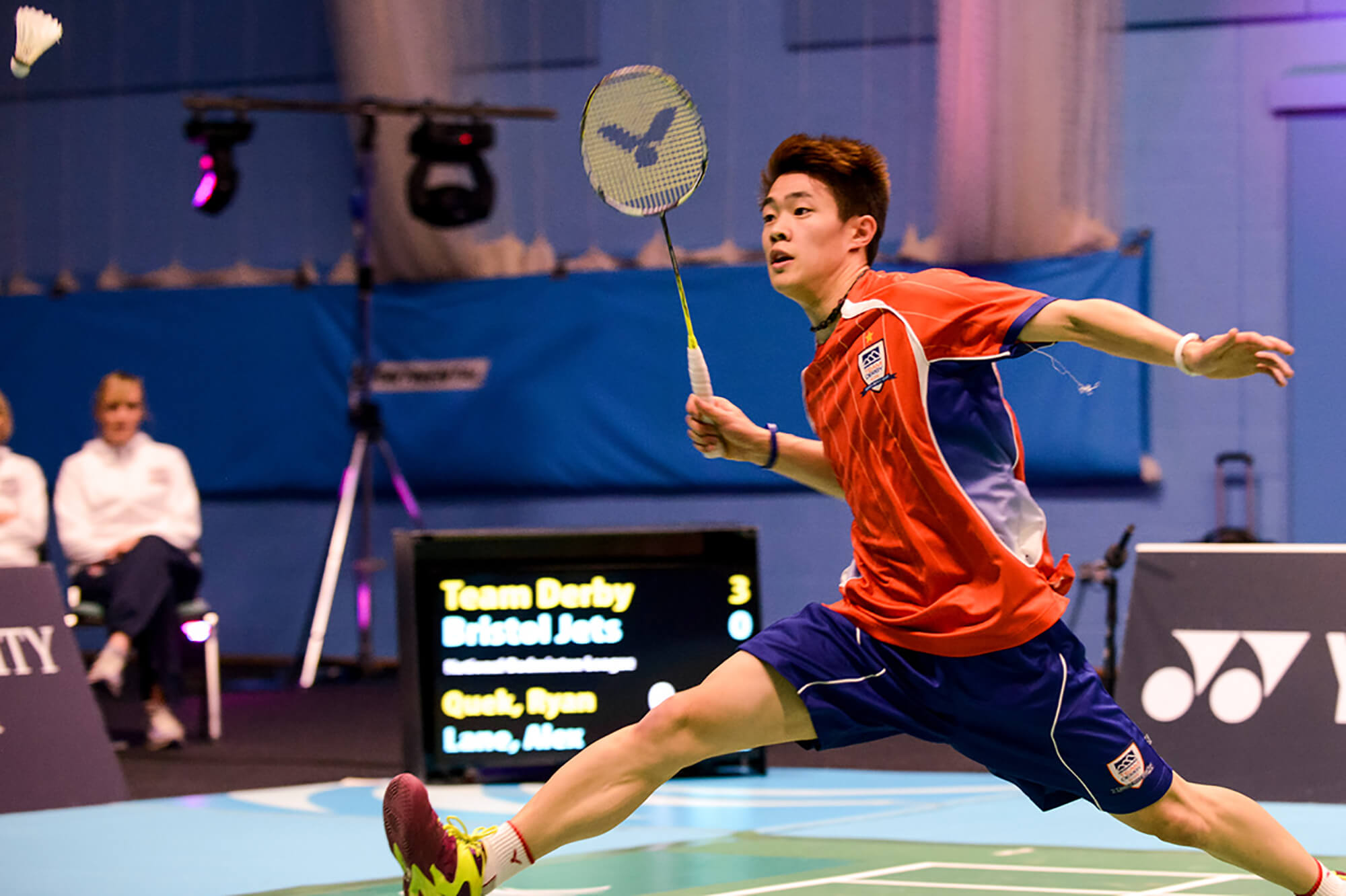 Team Derby in action in the National Badminton League