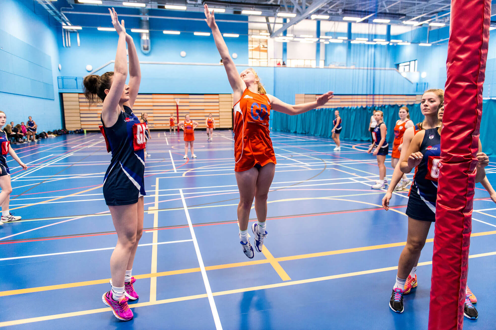 Women's Netball 2nd Team, playing in the Sports Centre at the University of Derby.