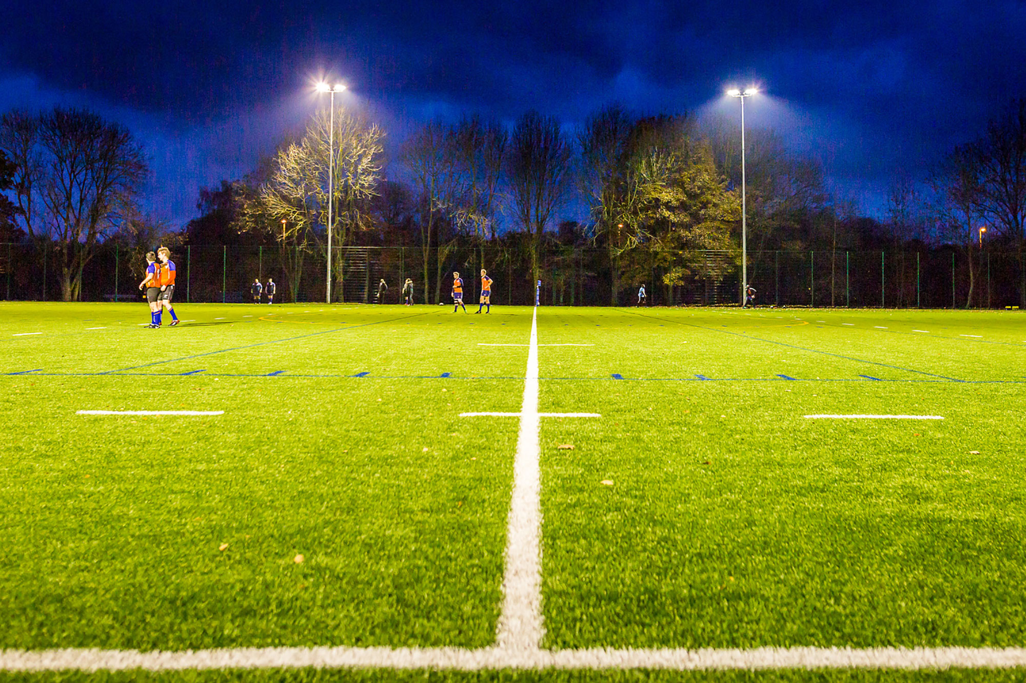 4G Rugby pitch at night time