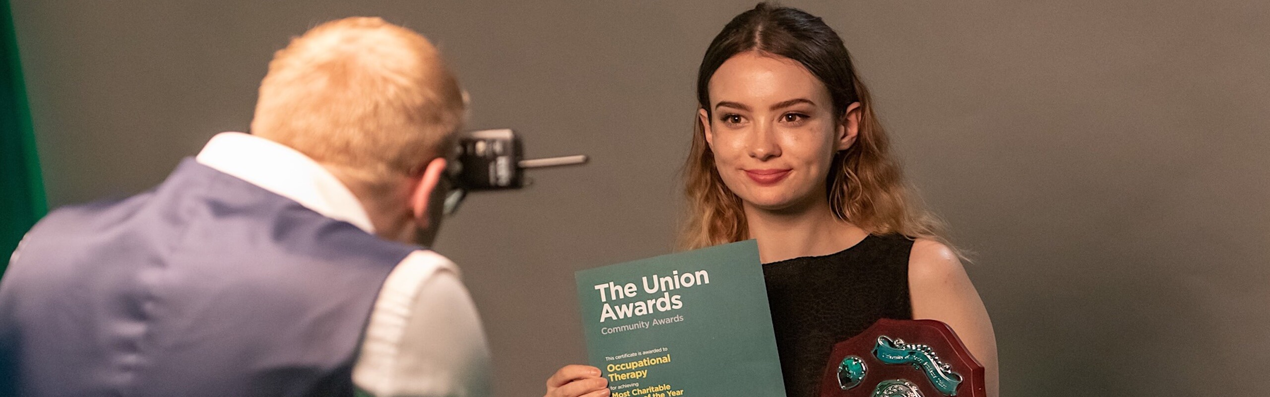 Student receiving an awards