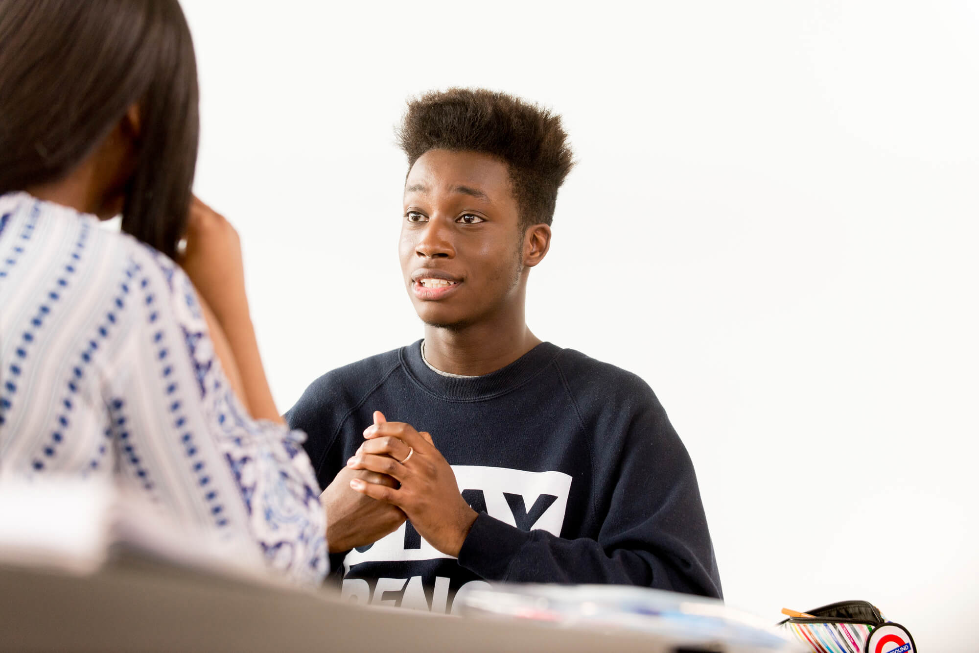 Student in practical work of counselling