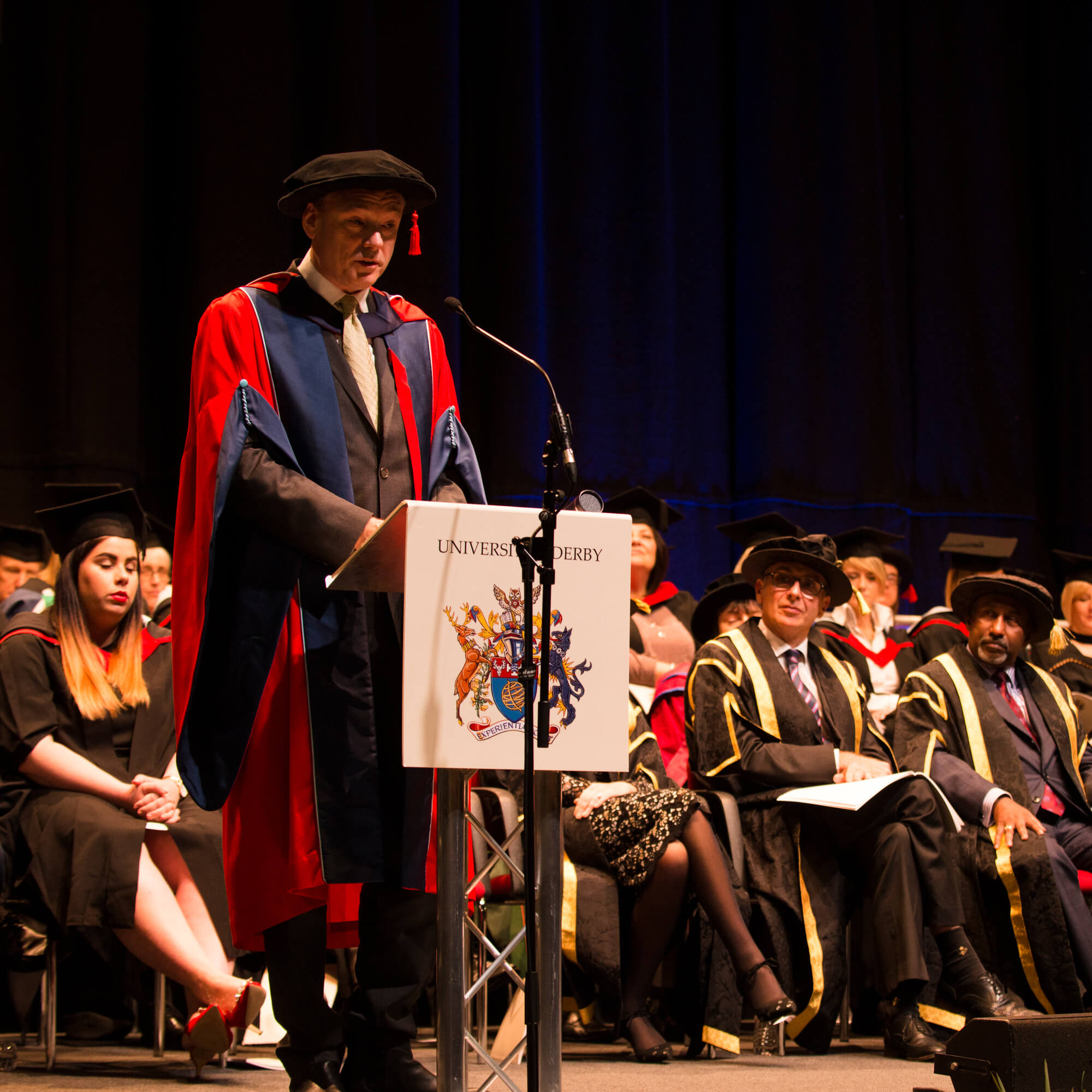 Honorand speaking at University of Derby winter graduation 2018