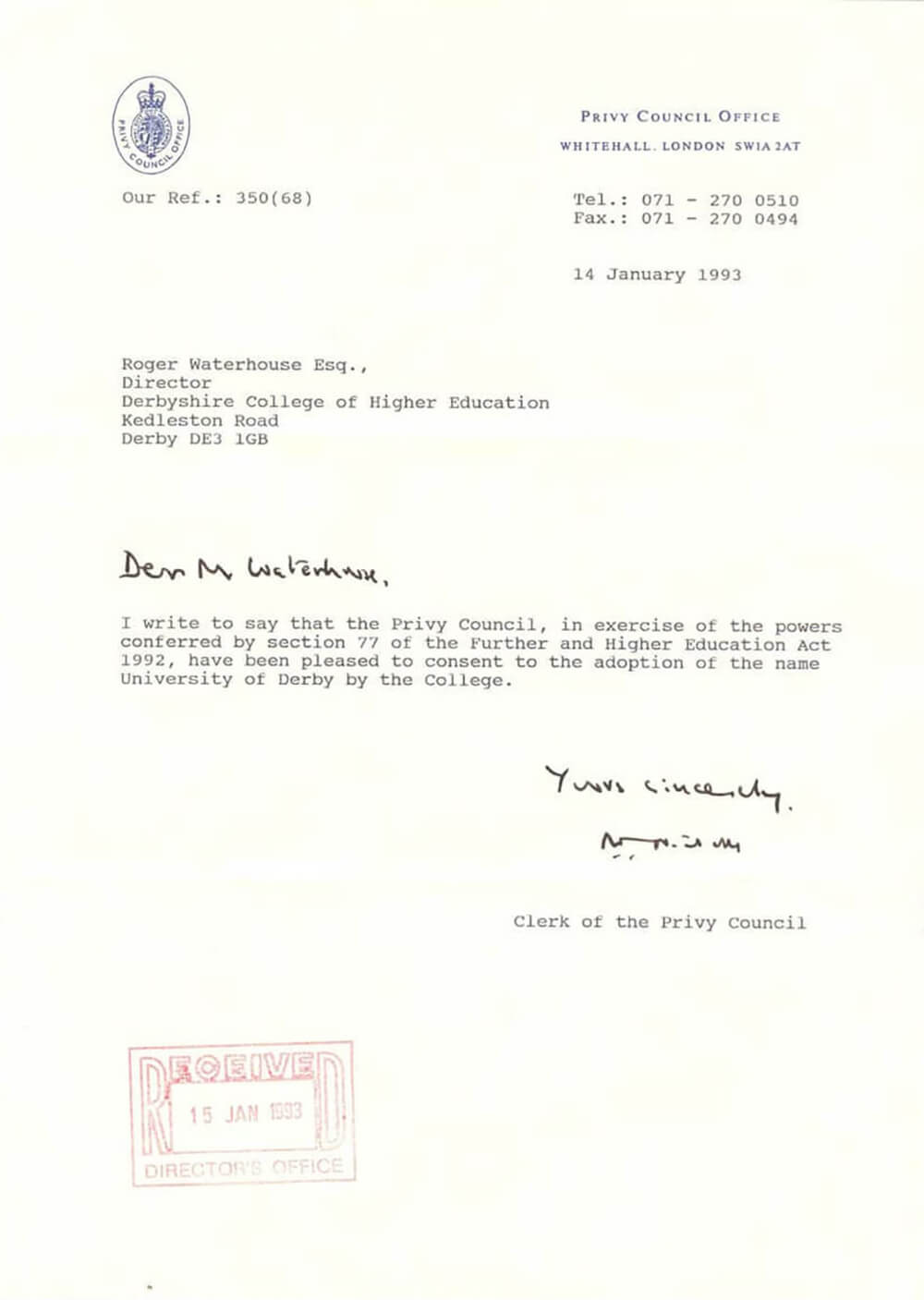 Letter from the Privy Council establishing the University of Derby