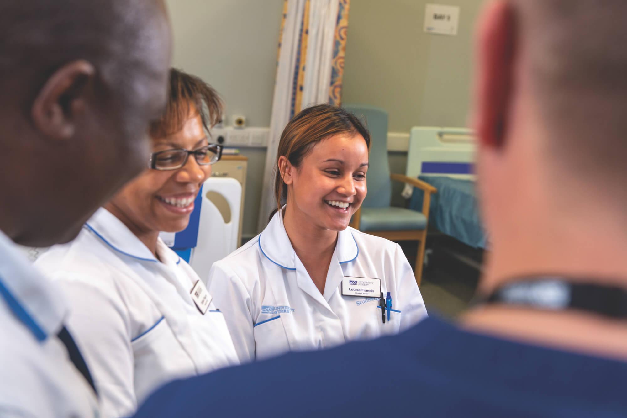 Trainee nurses in conversation