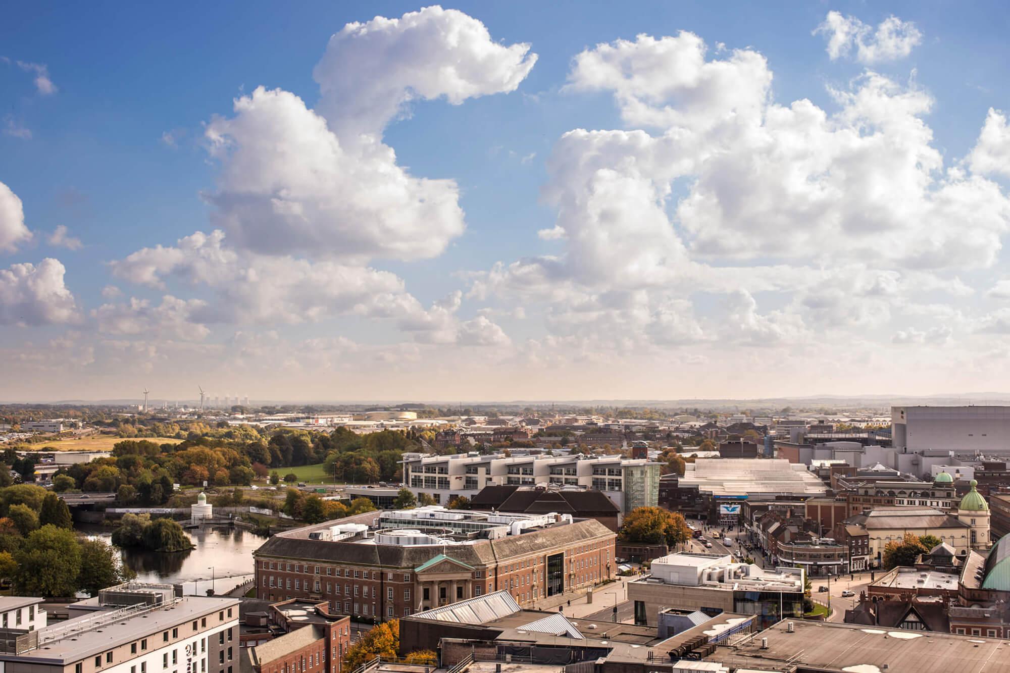 Birds eye view of Derby city centre.