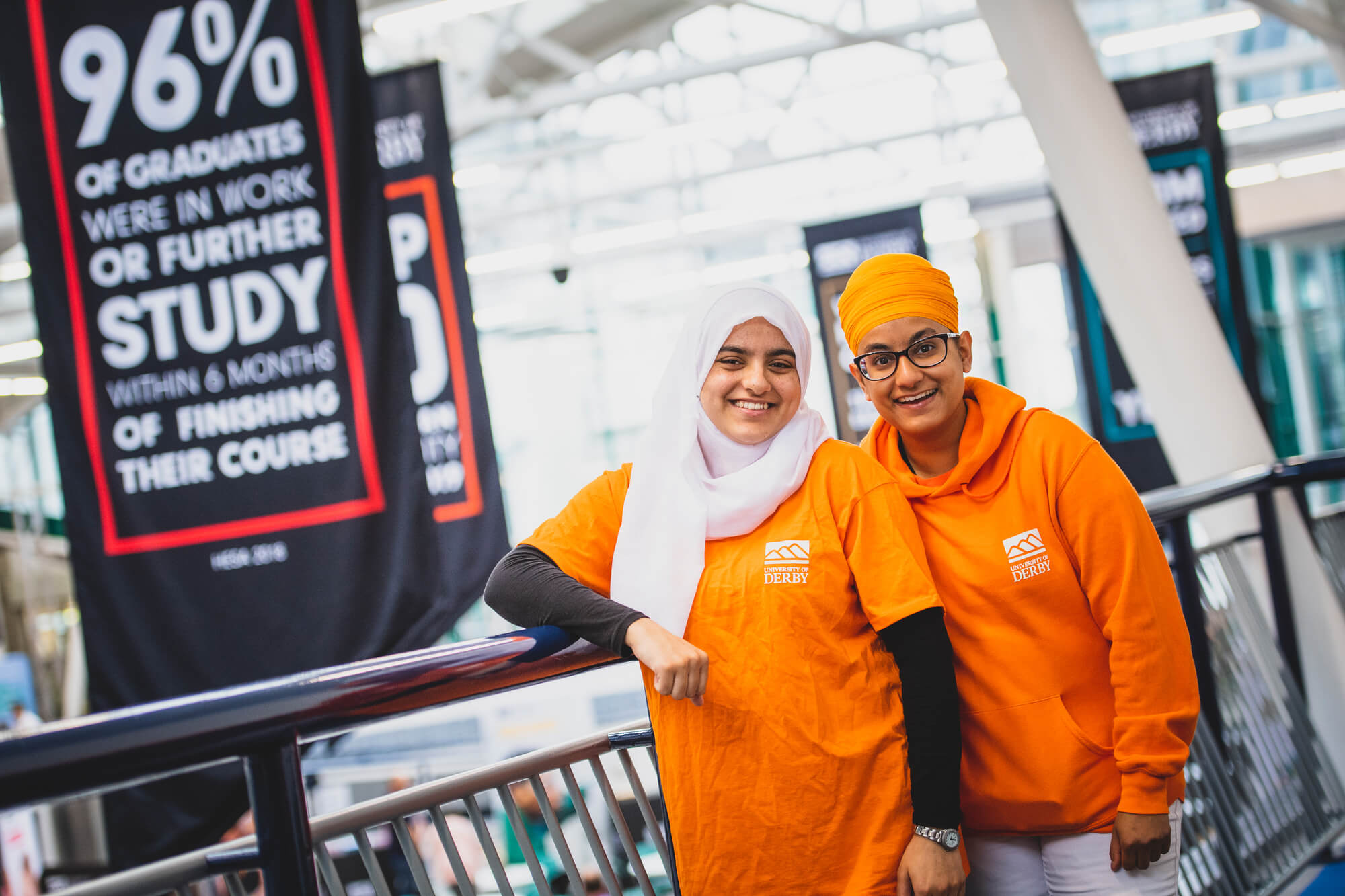 Student ambassadors at University of Derby open day