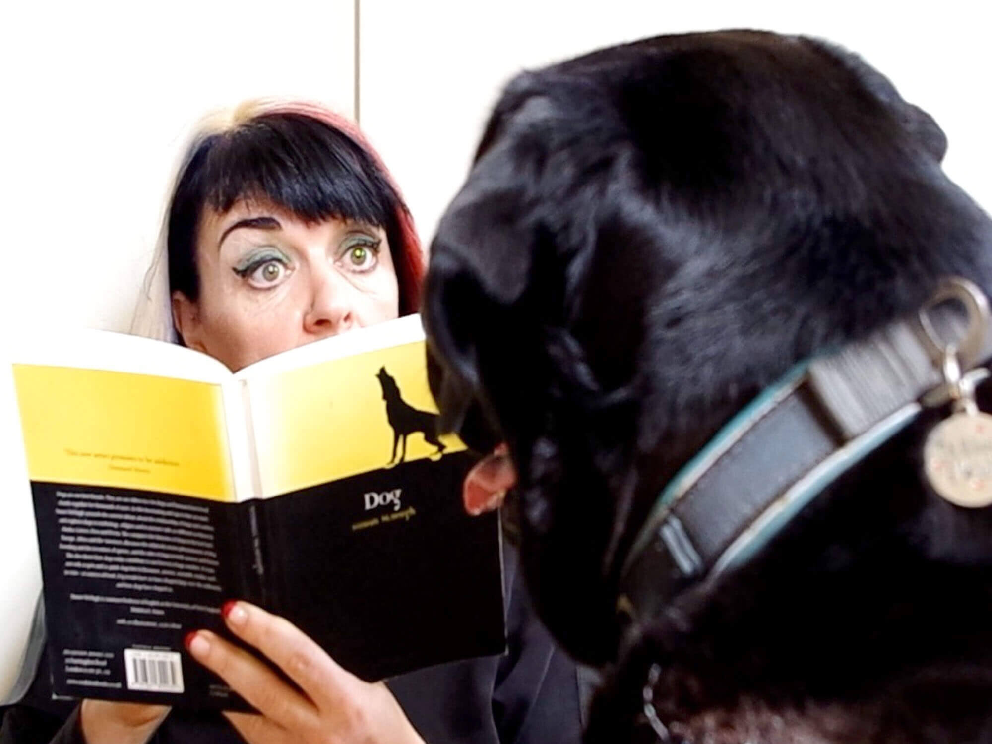 Ang Bartram reading book about dog theory to Oscar the dog