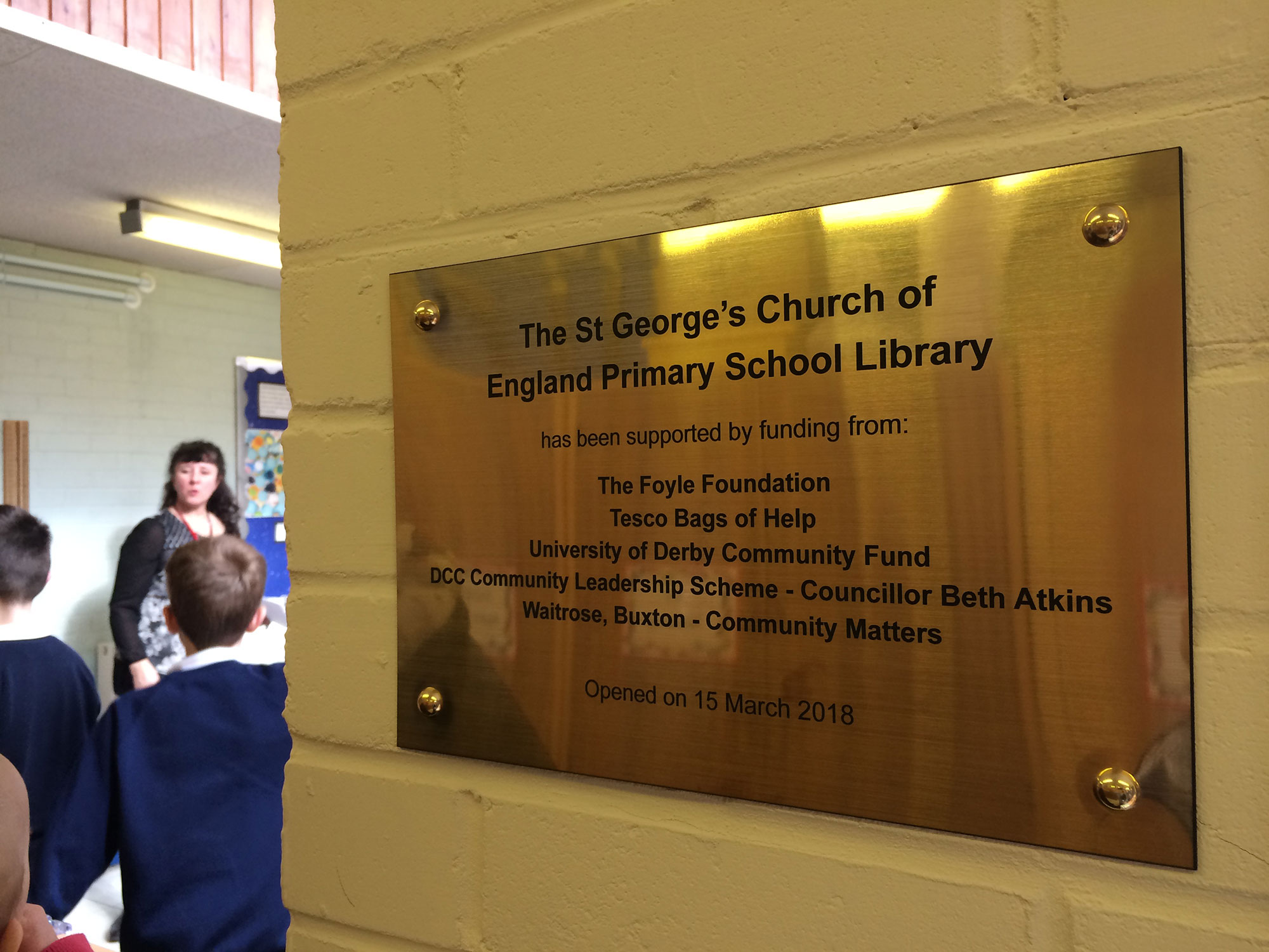 St George's School gold funding plaque