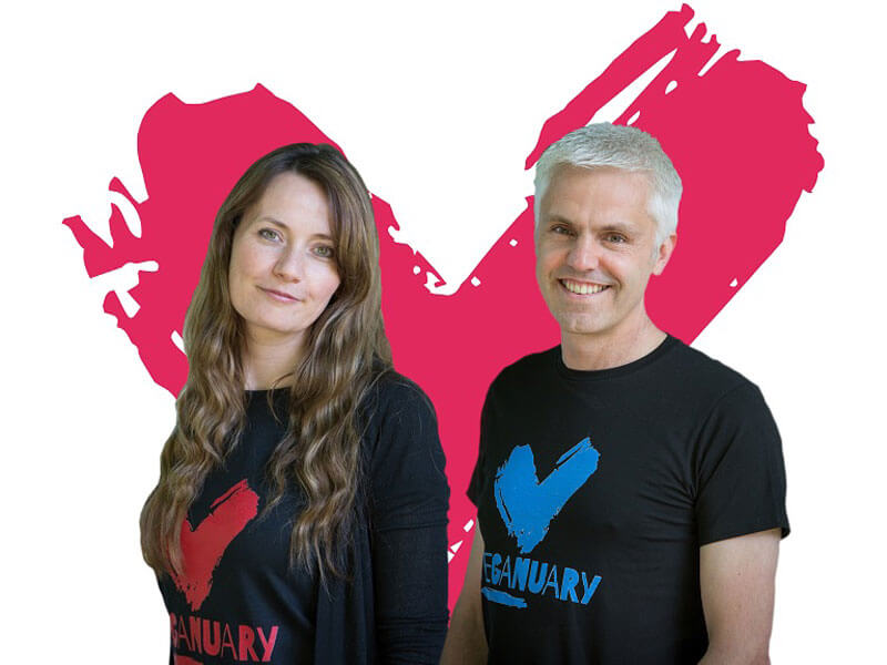 Two people promoting Veganuary