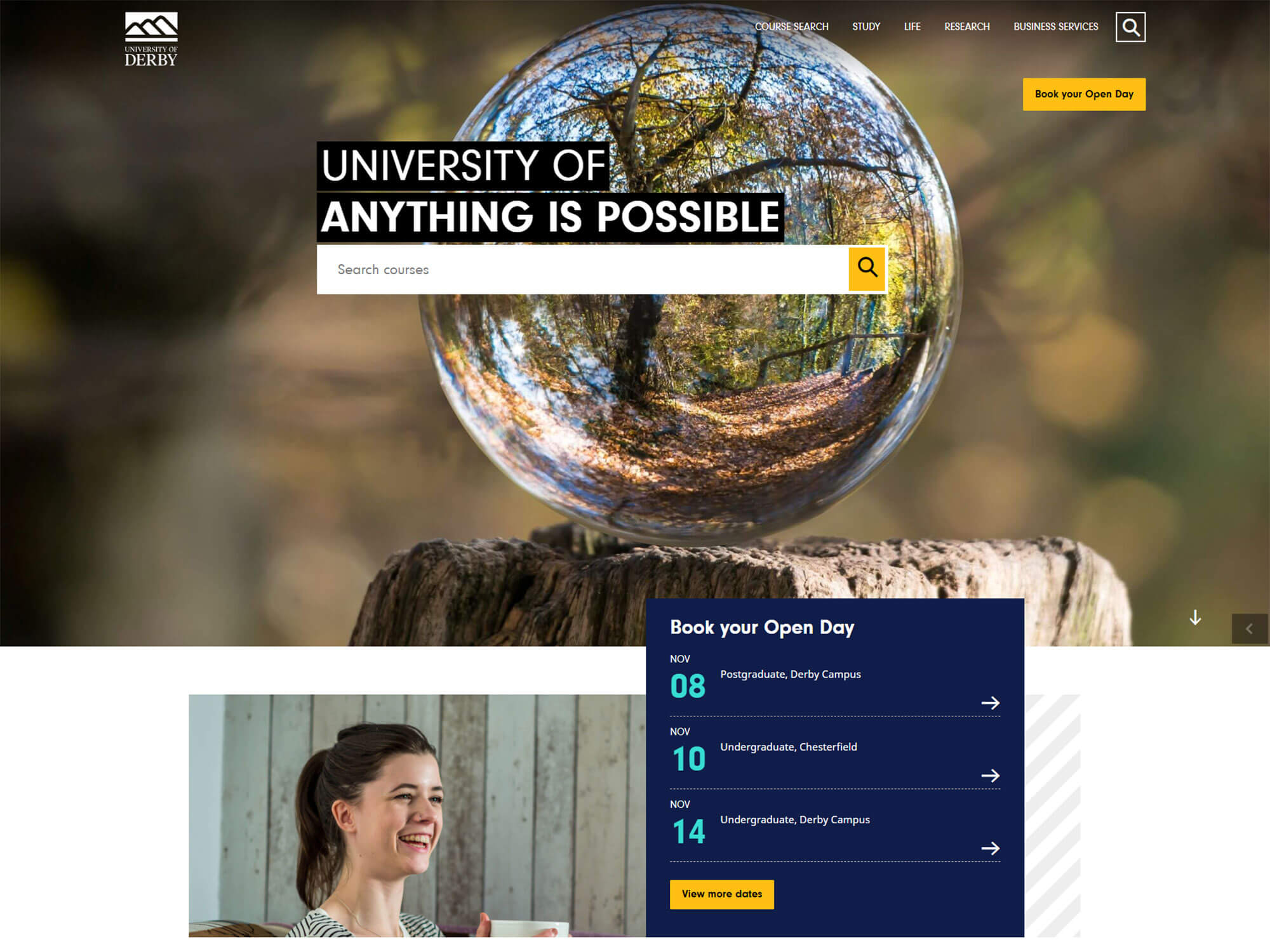Top half of University of Derby's website homepage
