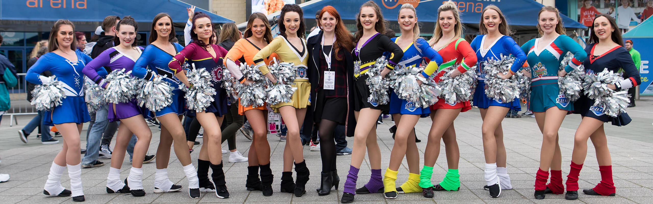 Abbi Burns with her cheerleaders outside the Motorpoint Arena