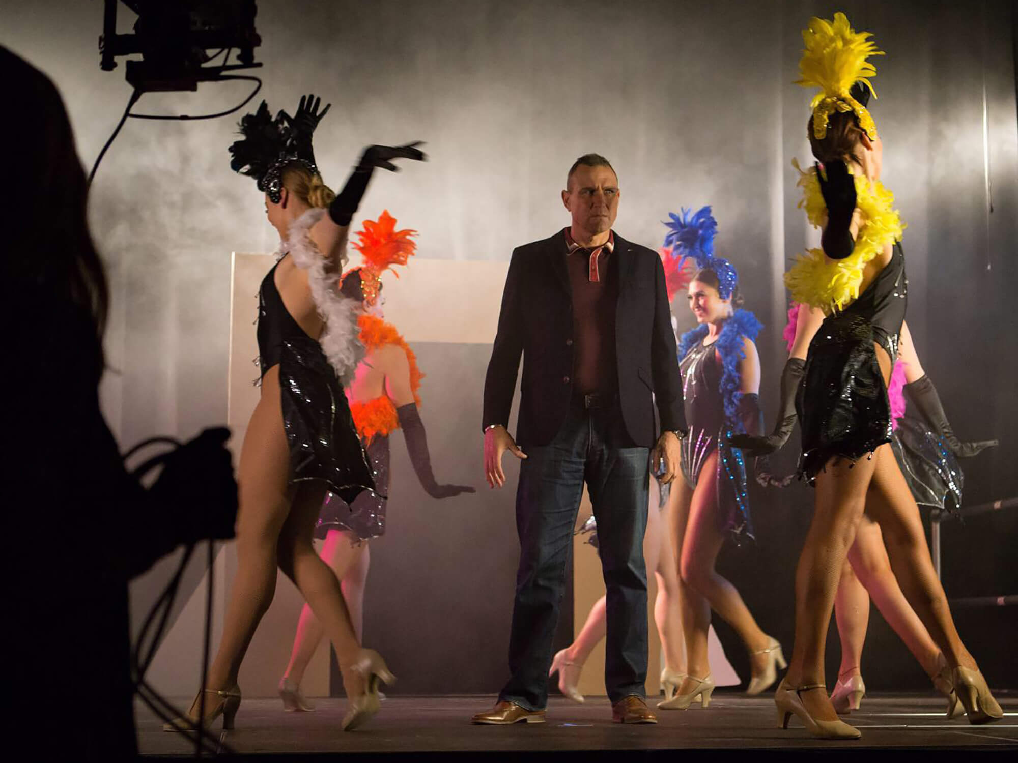 Darley Dance Production performers on the set of the feature film Madness In The Method with actor Vinnie Jones