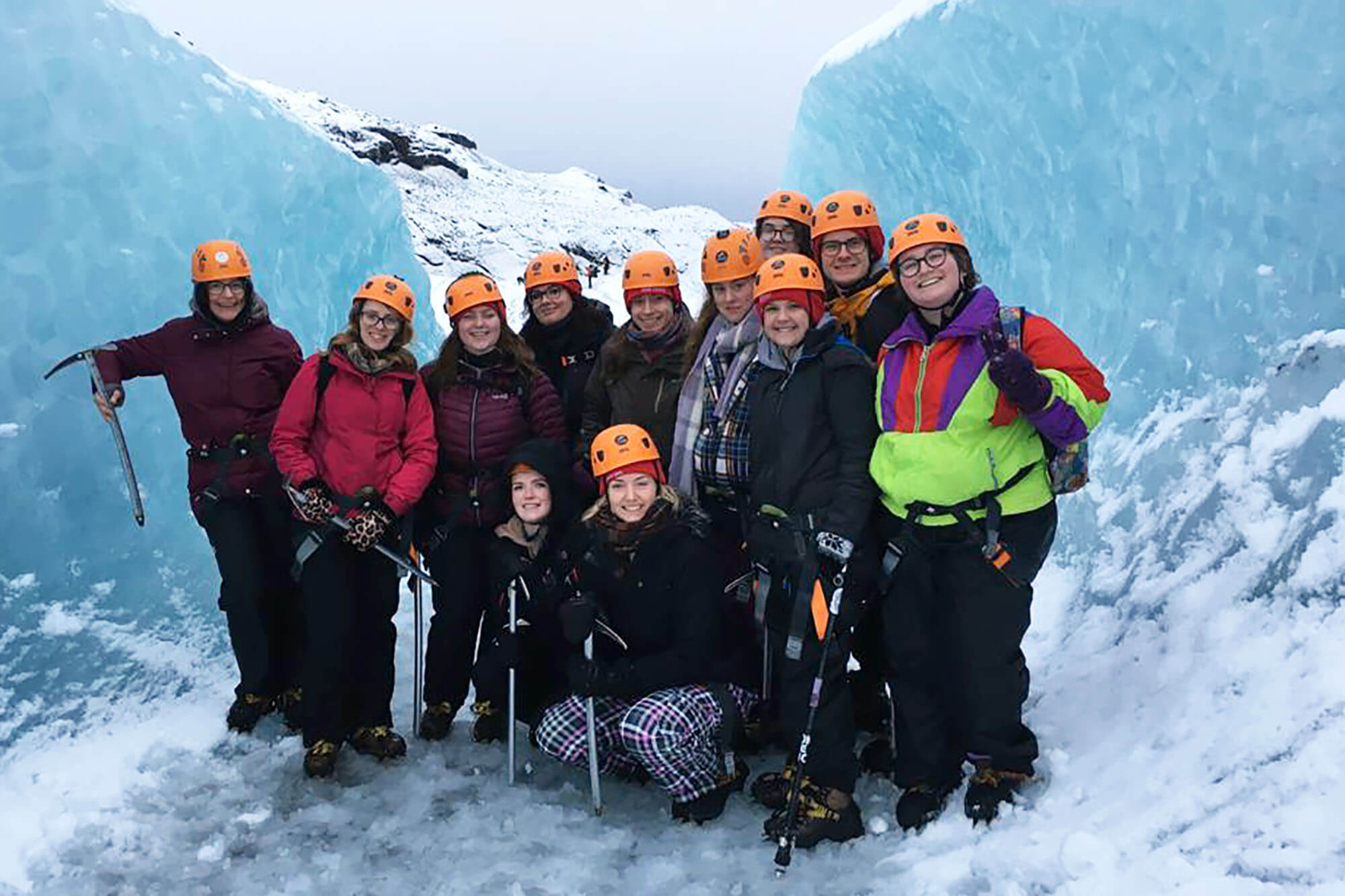 students on a glacier in Iceland