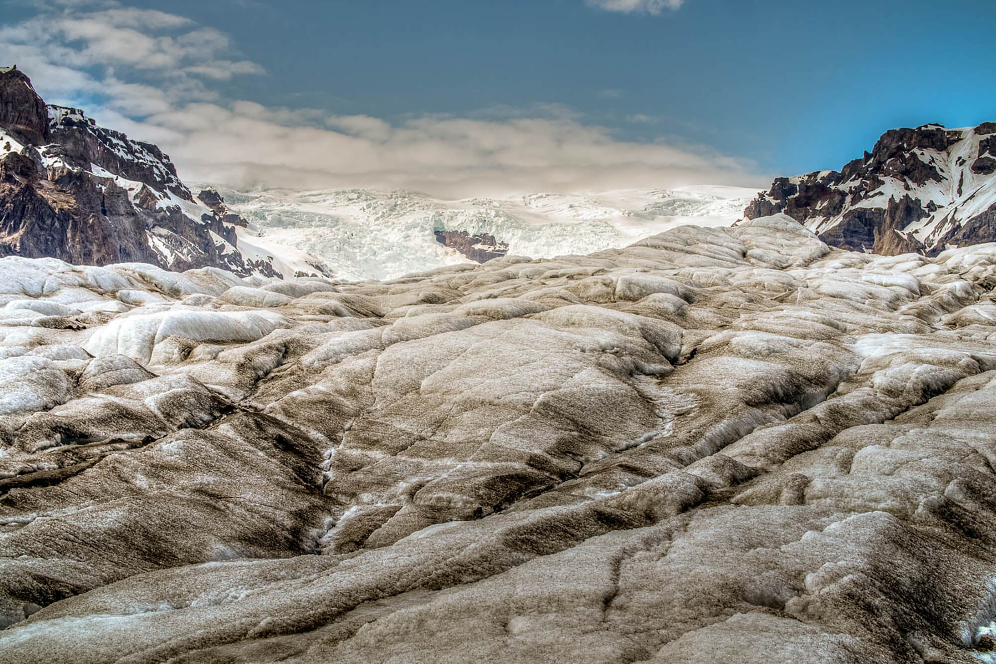 The surface of Kvíárjökull glacier in Iceland