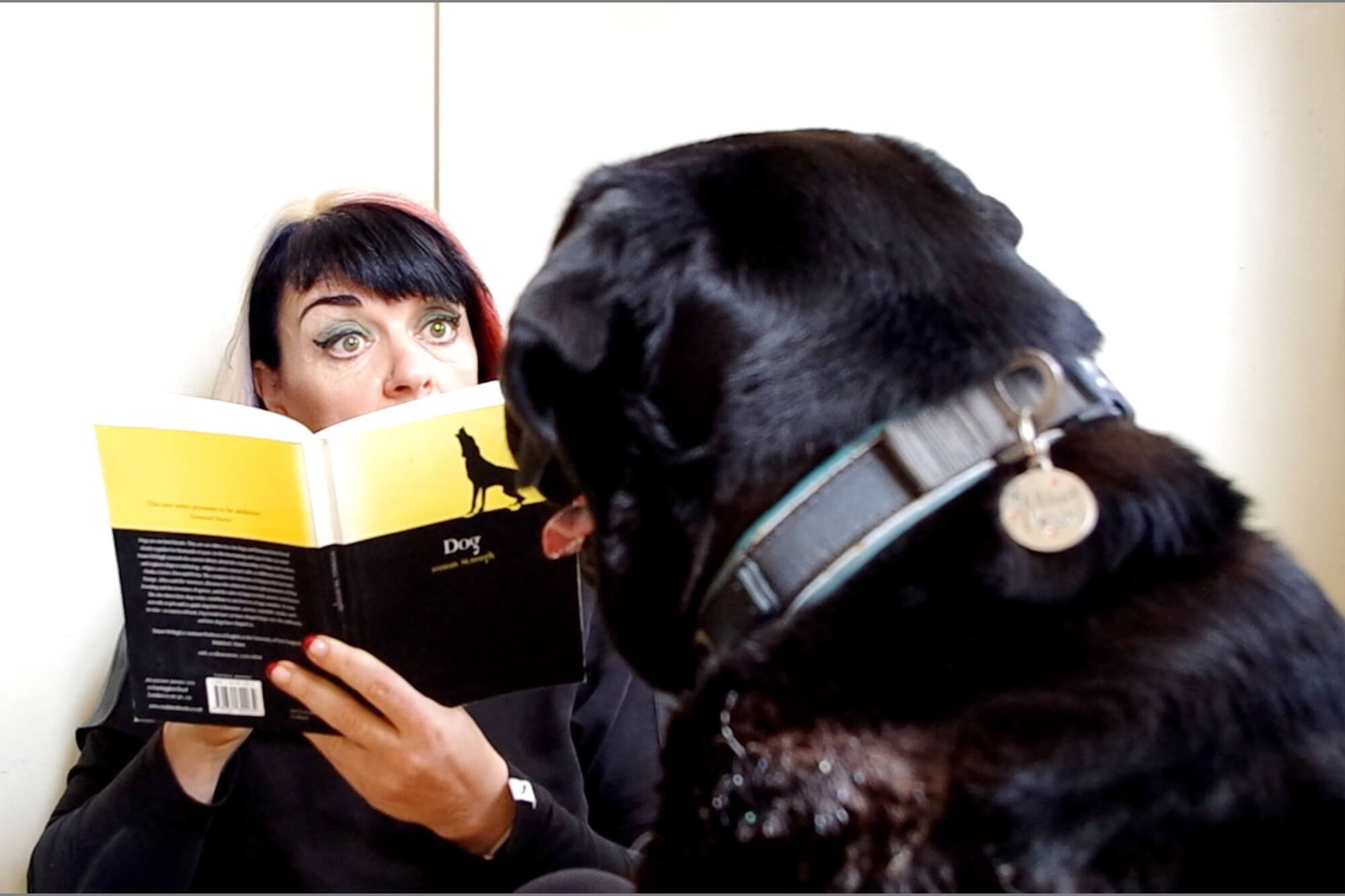 Ang Bartram holds a book up called 'Dog' in front of a dog who faces her.