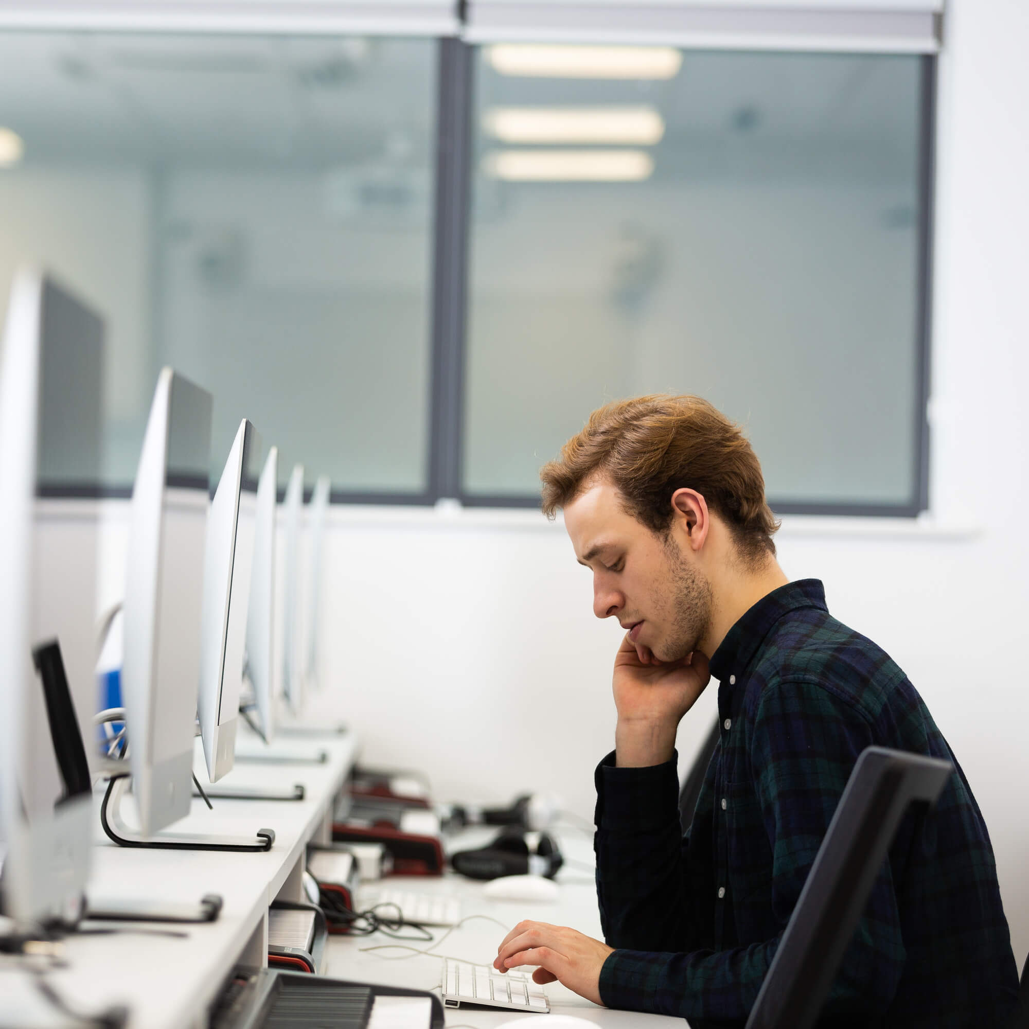 A student working in a computer lab