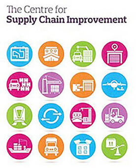 The Centre for Supply Chain Improvement. Small circles containing white silhouettes of different modes of transportation sit beneath the text.