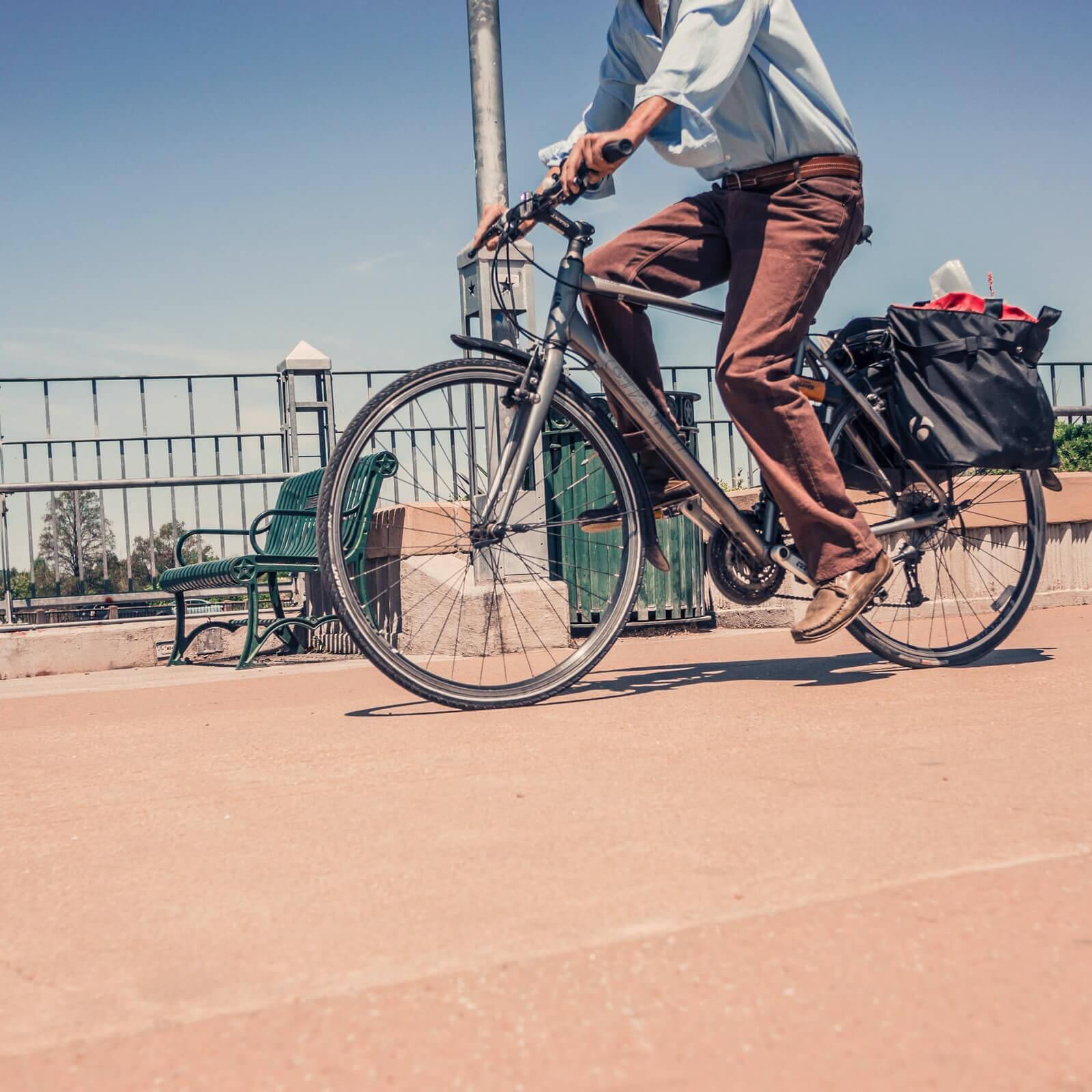 A man riding a bicycle