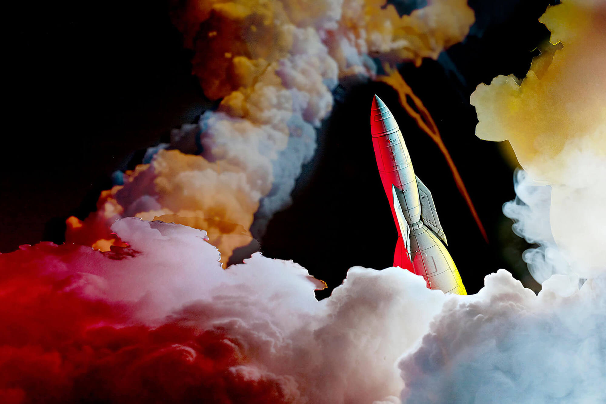 Sadie Wechsler's Takeoff of a rocket heading through the clouds