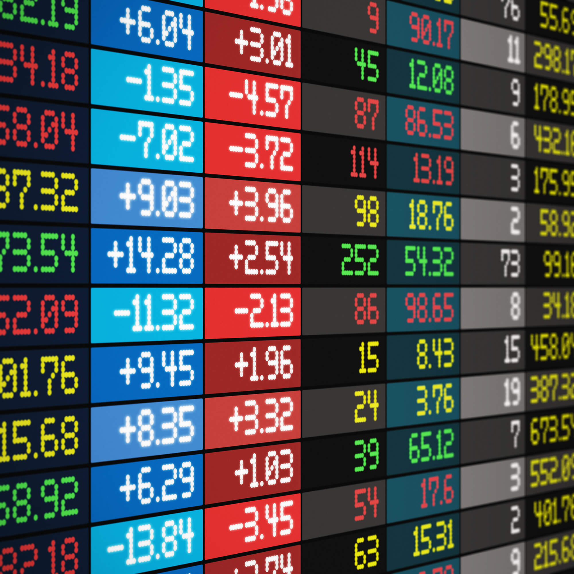 stock prices on a screen
