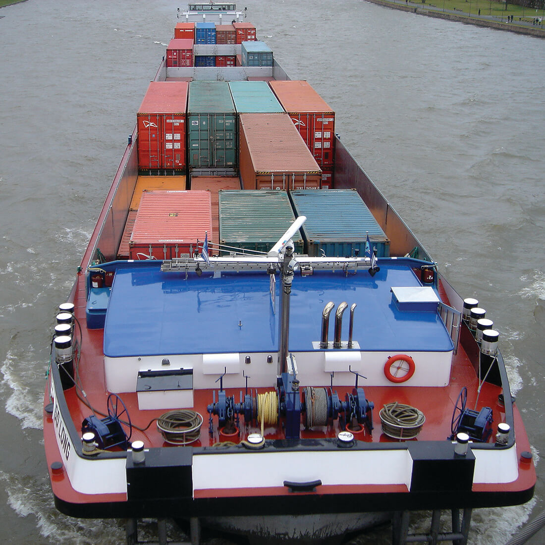 A container ship on the move