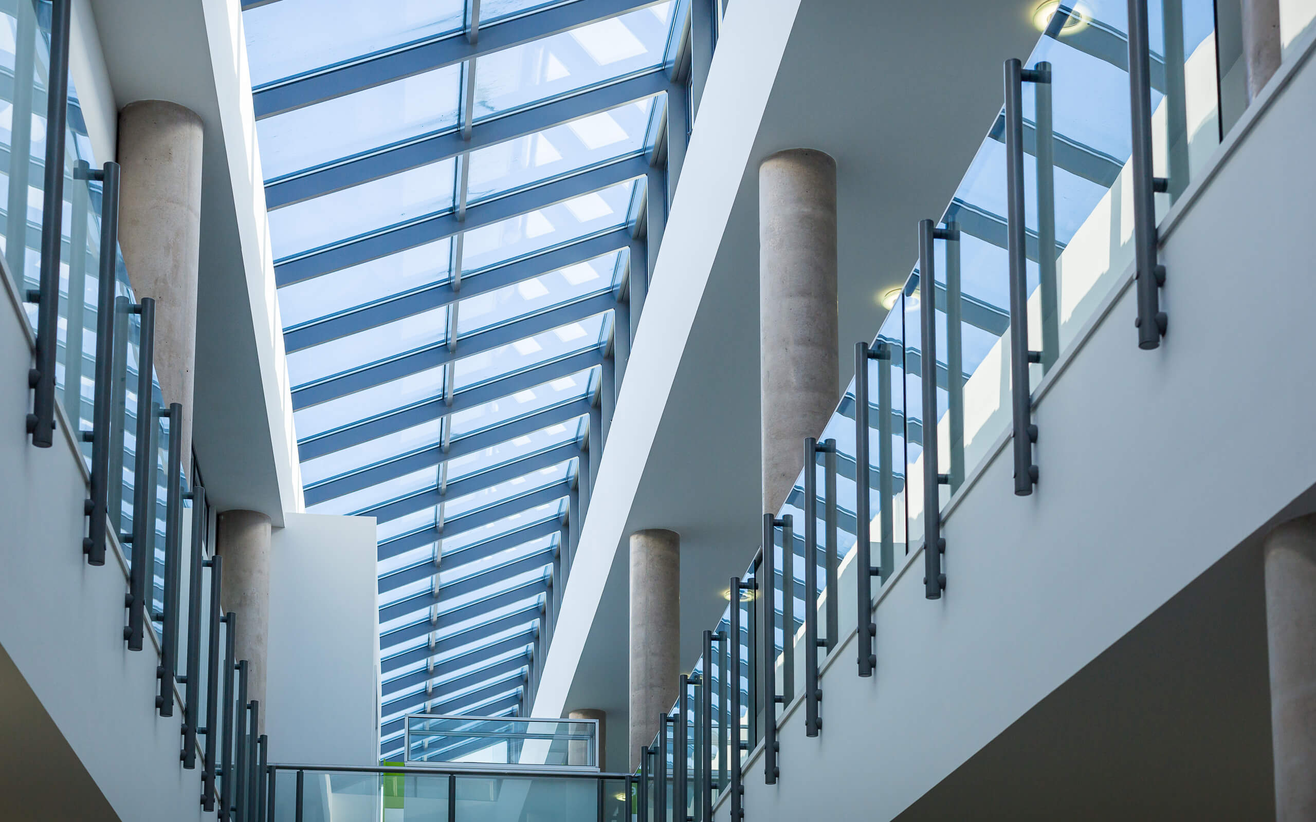 looking up to the glass roof from inside the University of Derby's Markeaton Street building