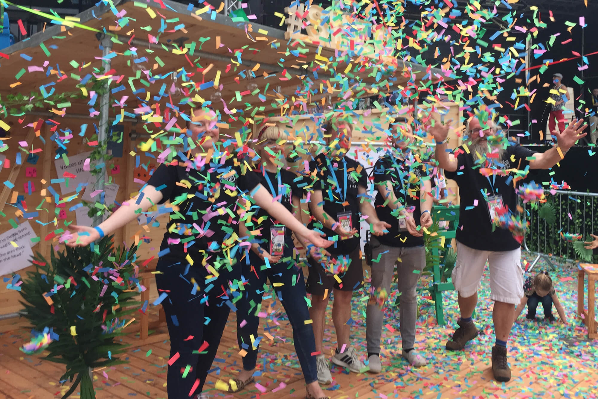 A tickertape celebration with the SHED team in SHED