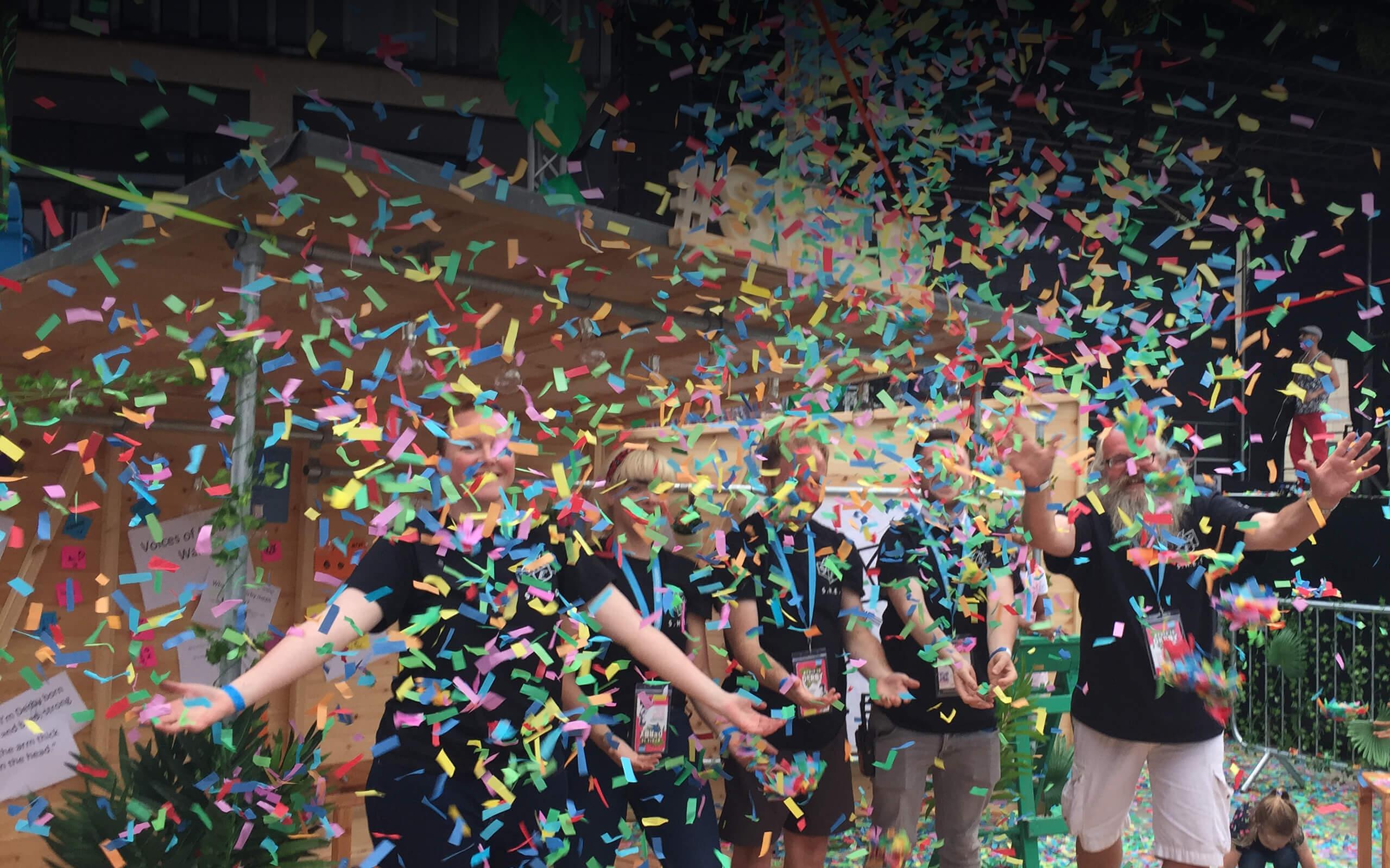 Confetti falling at S.H.E.D