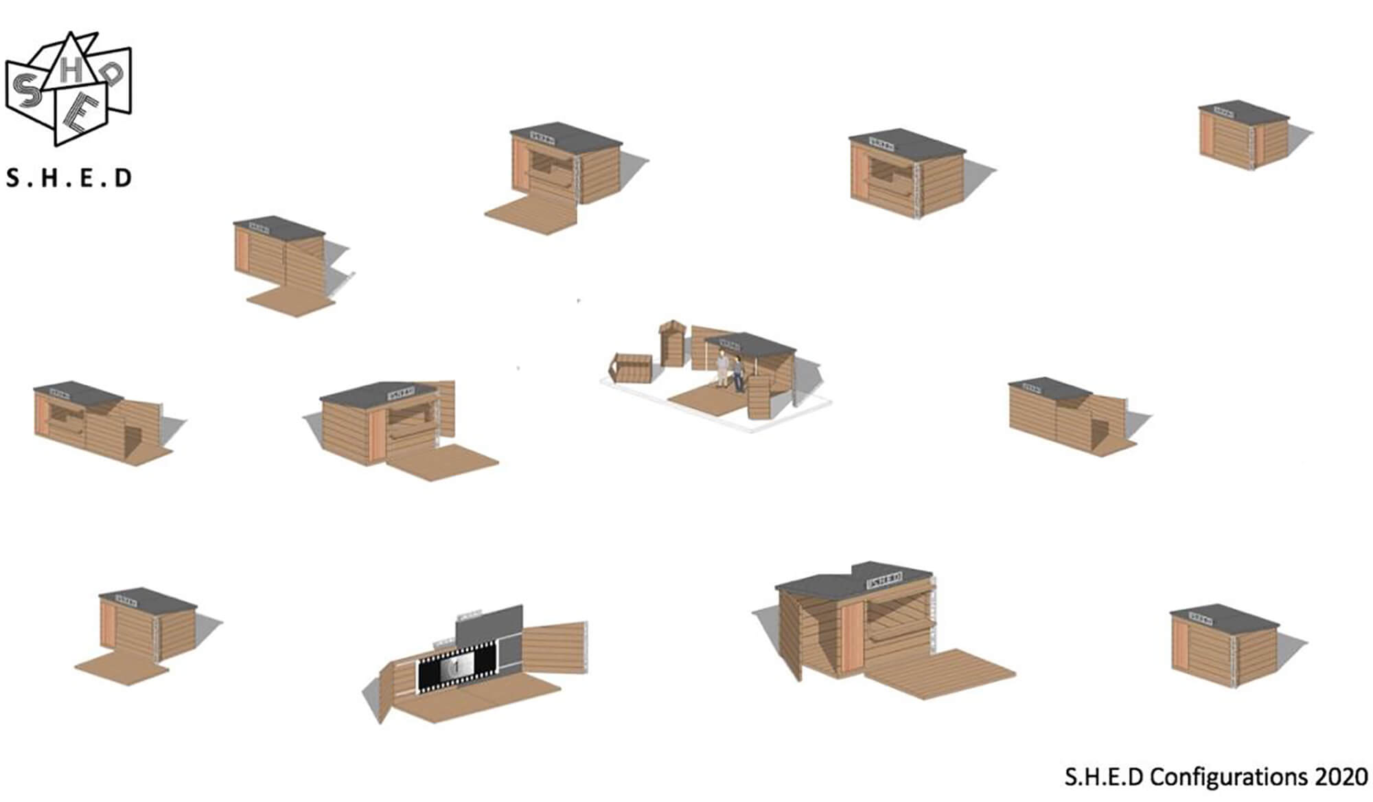the 12 configurations of S.H.E.D, from simple shed to outdoor movie theatre
