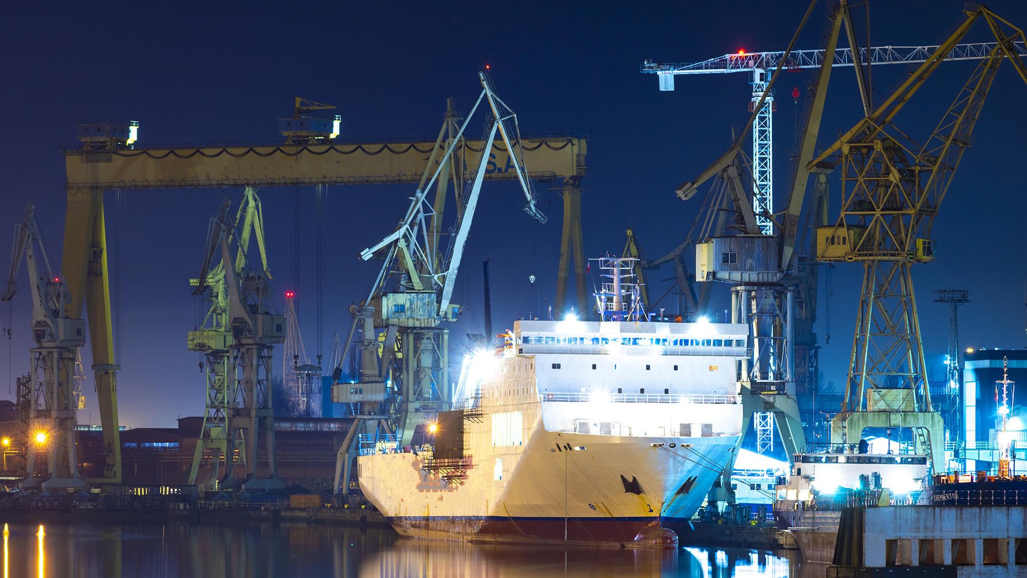 an industrial port