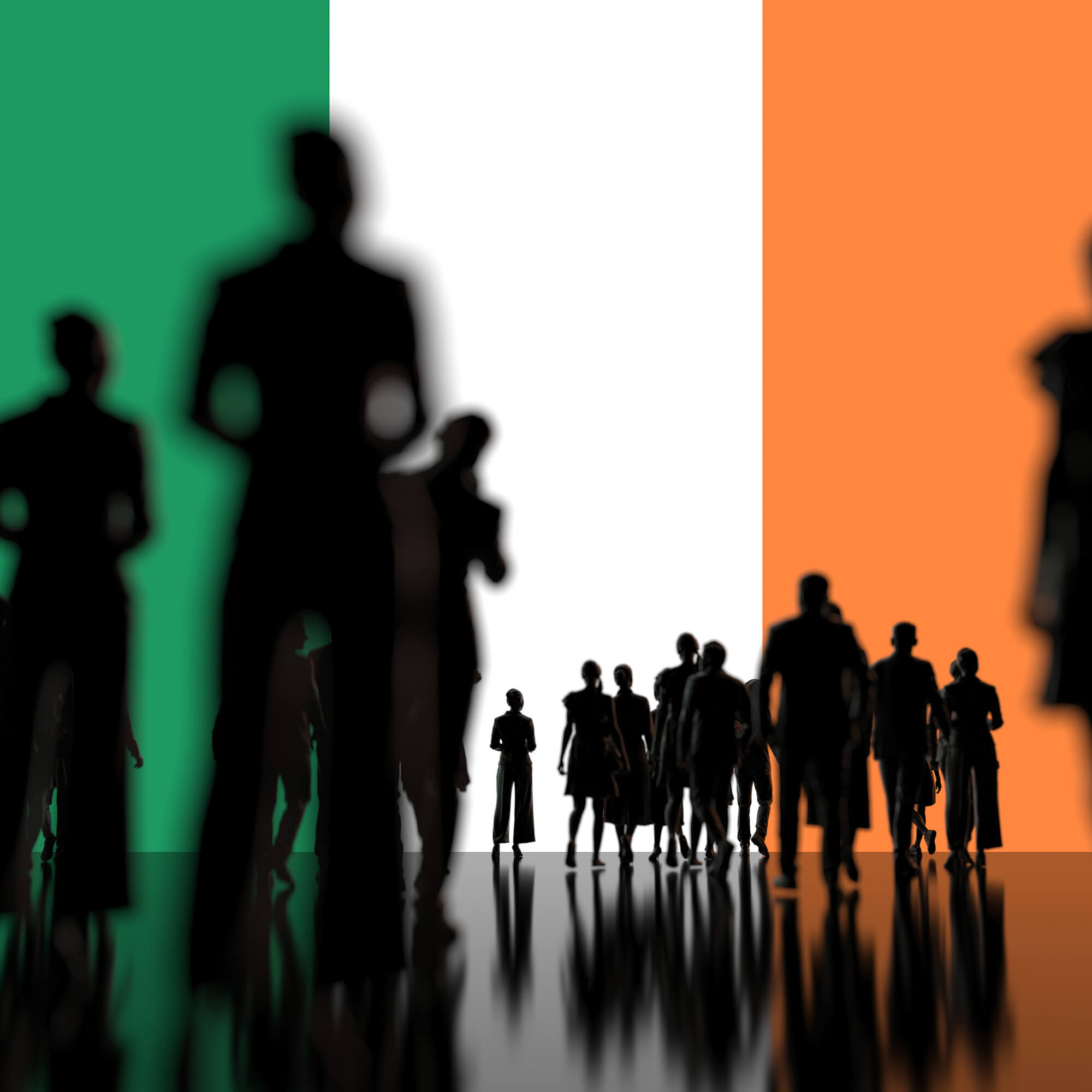 silhouettes of people against an Irish flag