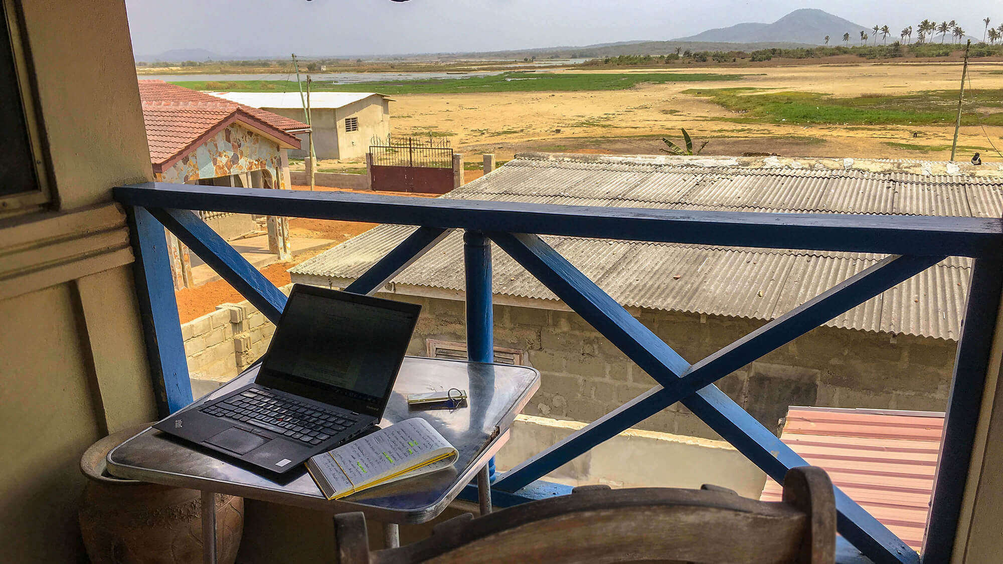 study area in Ghana overlooking the lagoon barrier system