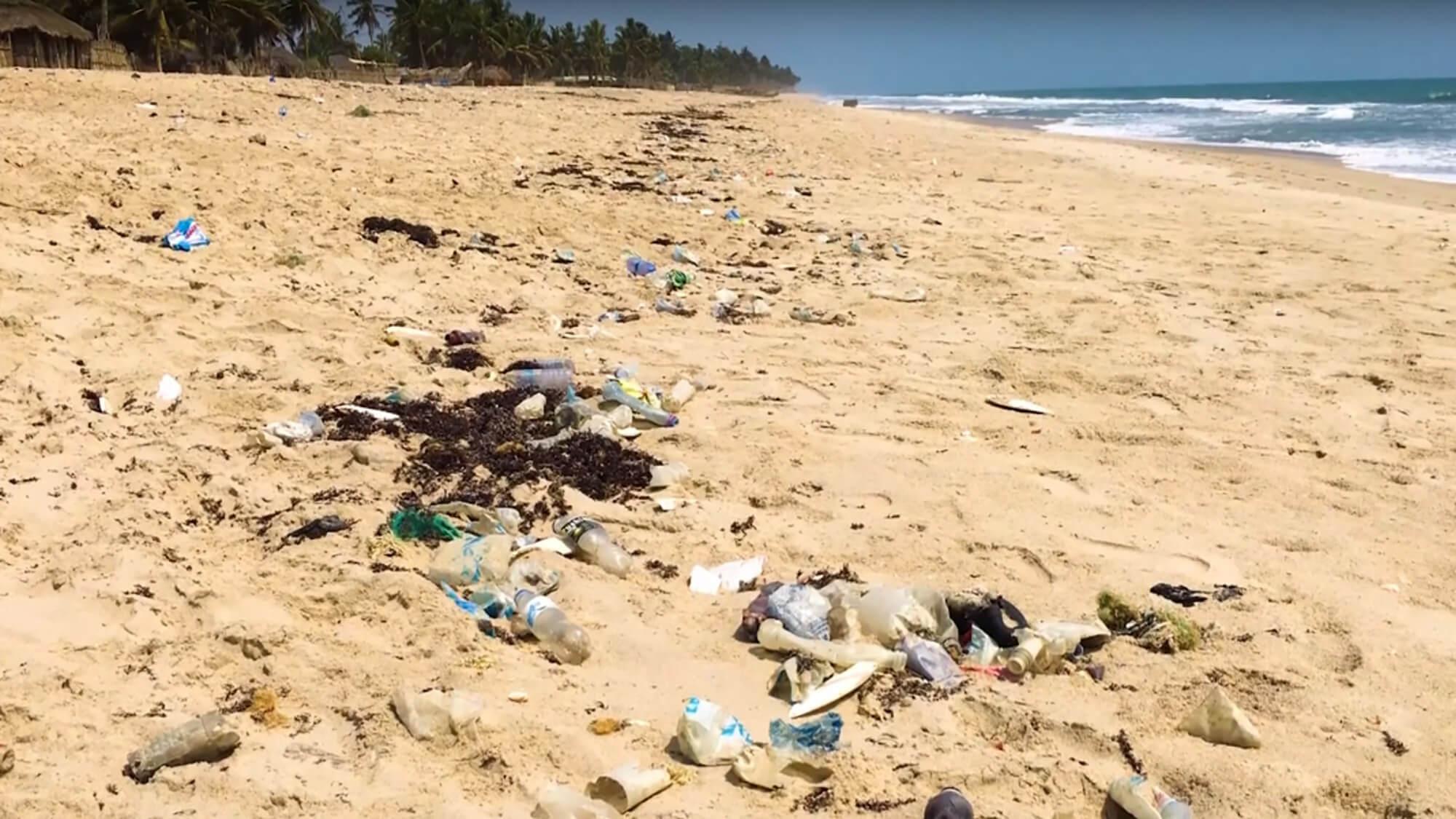 plastic pollution on the beach in Ghana