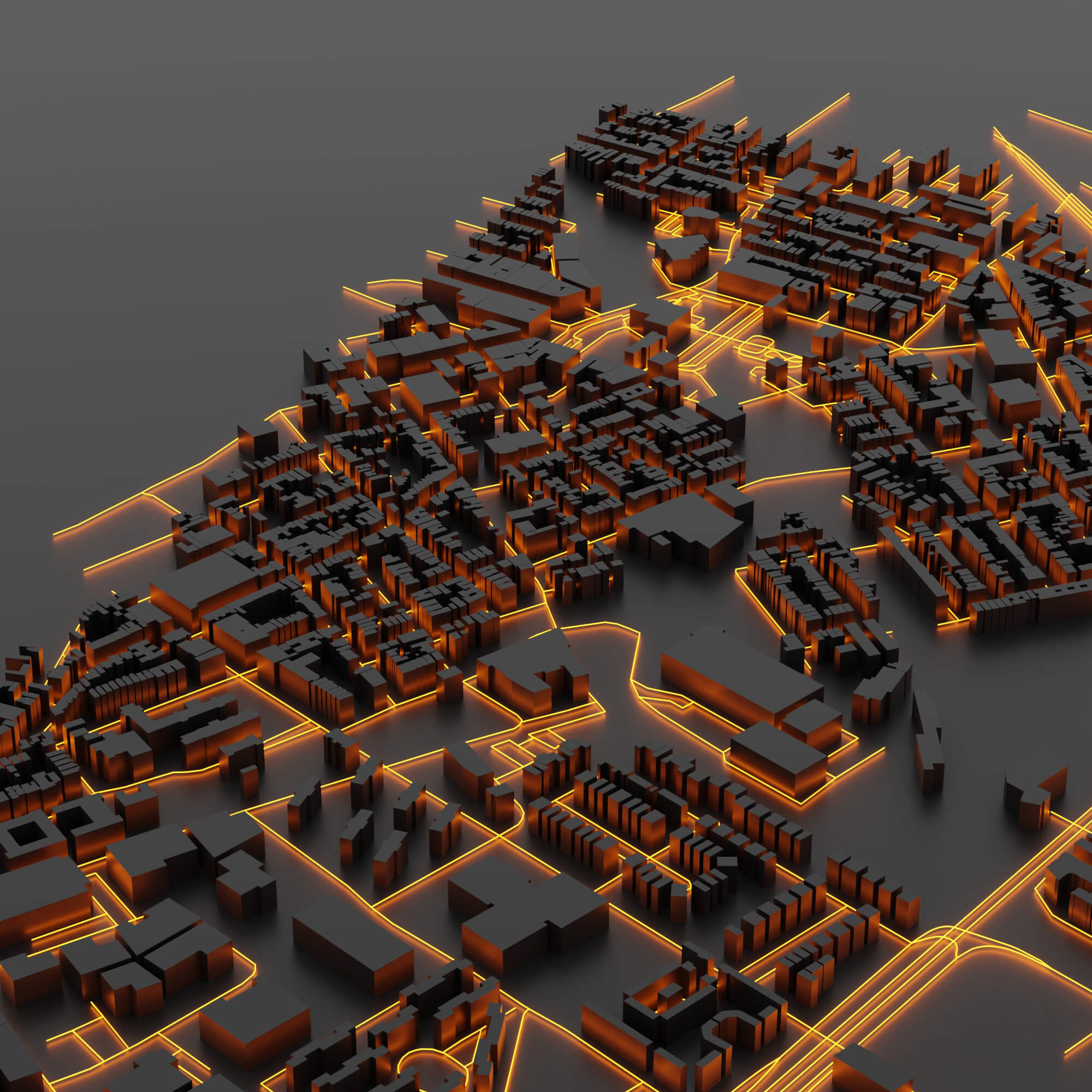 3d render of smart city
