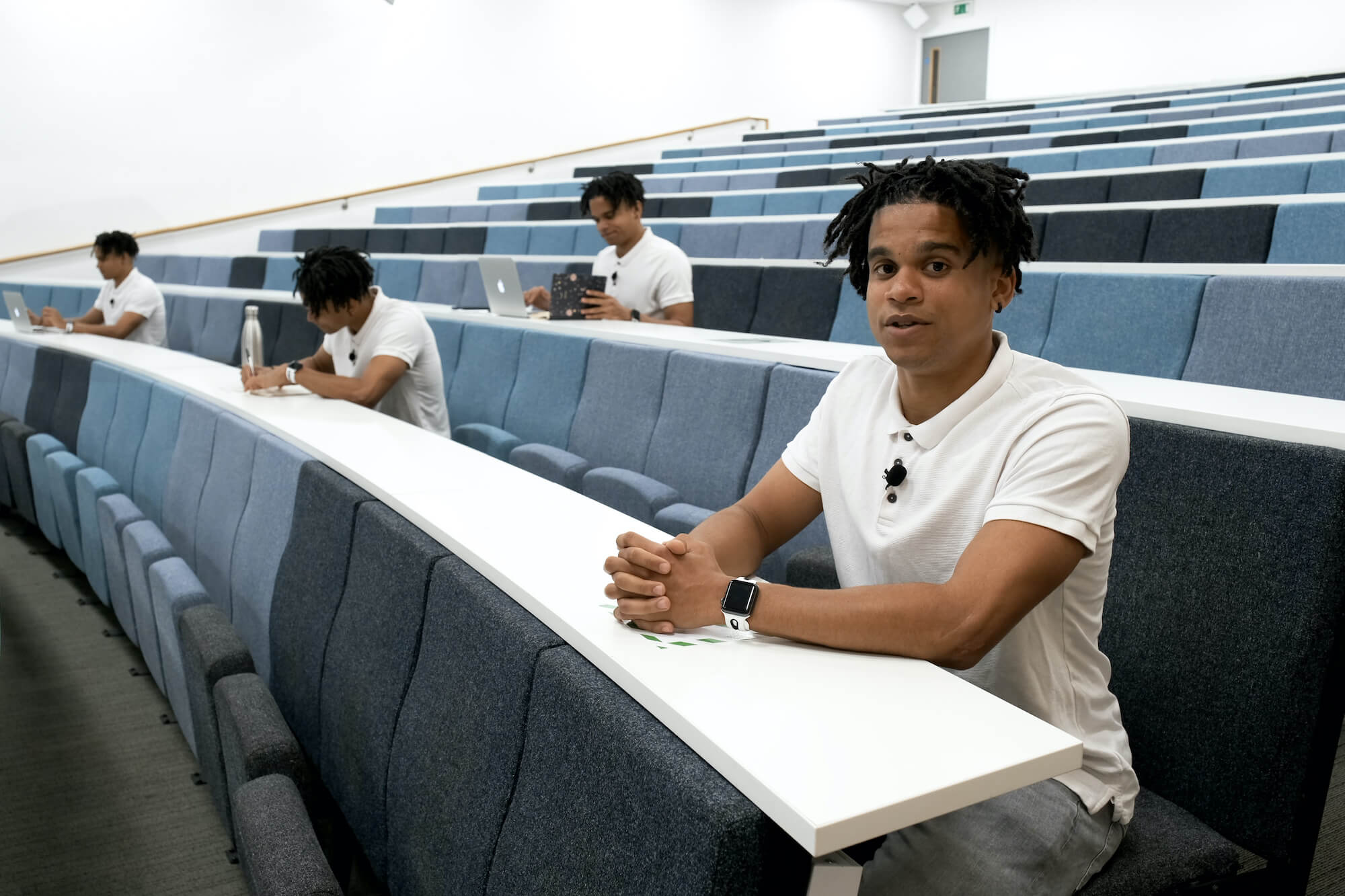 MBA student Clarence in a lecture-theatre